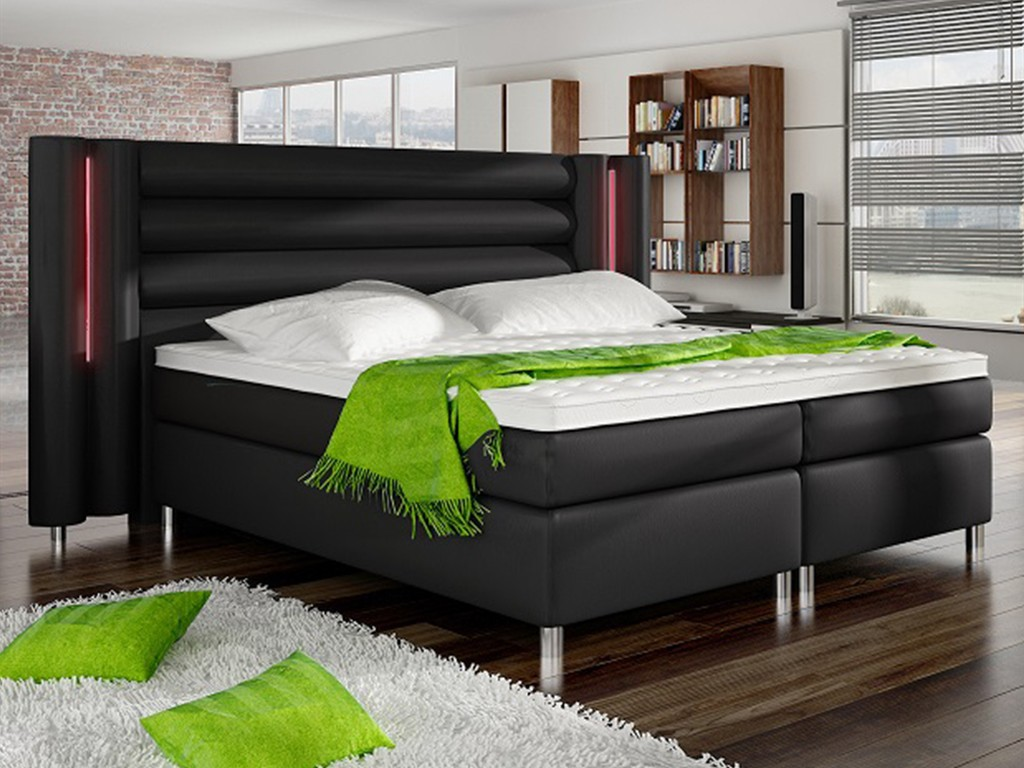 boxspringbett hamburg 180x200 kunstleder schwarz mit rgb led kopfteilbeleuchtung schlafen. Black Bedroom Furniture Sets. Home Design Ideas