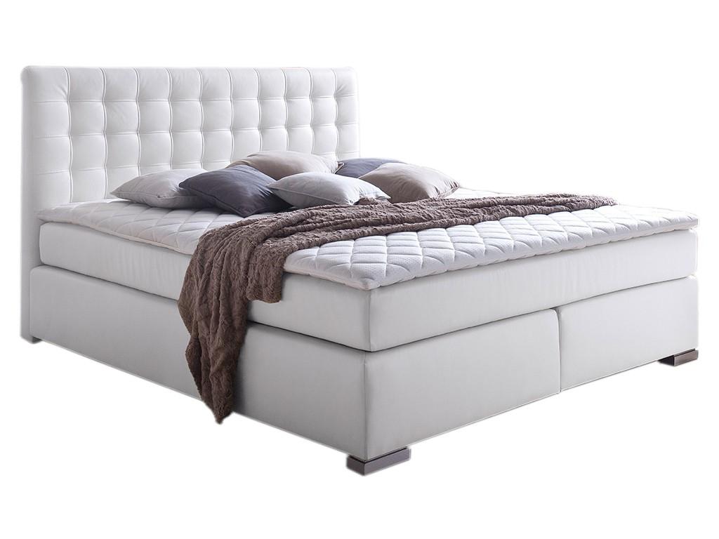 boxspringbett isa 180x200 cm pu wei mit visco topper. Black Bedroom Furniture Sets. Home Design Ideas