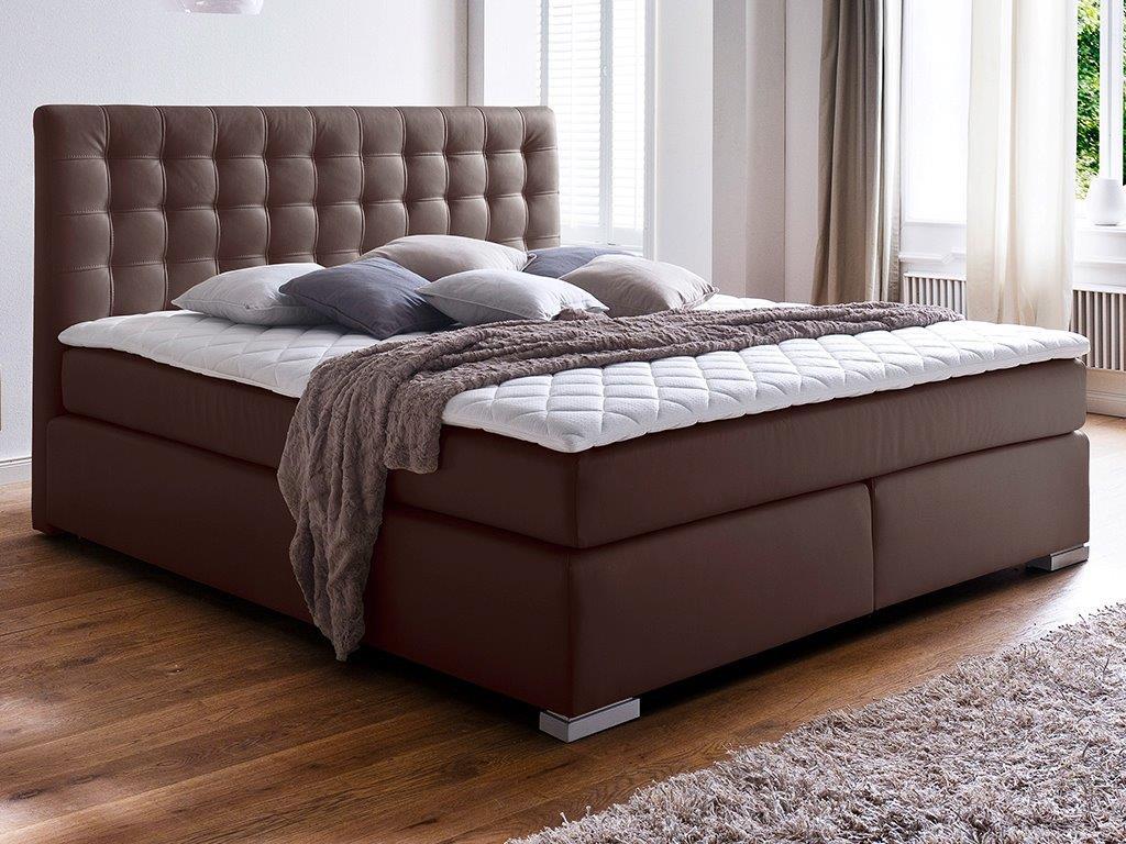 boxspringbett isa 200x200 cm pu braun mit visco topper schlafen boxspringbetten. Black Bedroom Furniture Sets. Home Design Ideas