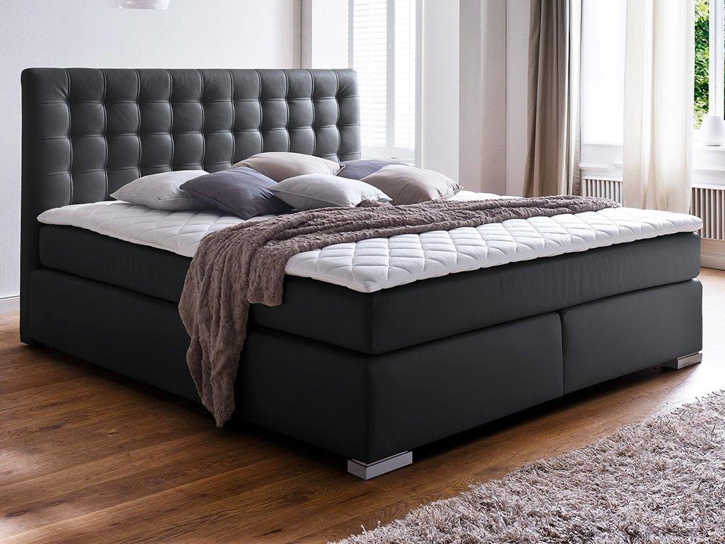 boxspringbett isa 200x200 cm pu schwarz mit visco topper schlafen boxspringbetten. Black Bedroom Furniture Sets. Home Design Ideas
