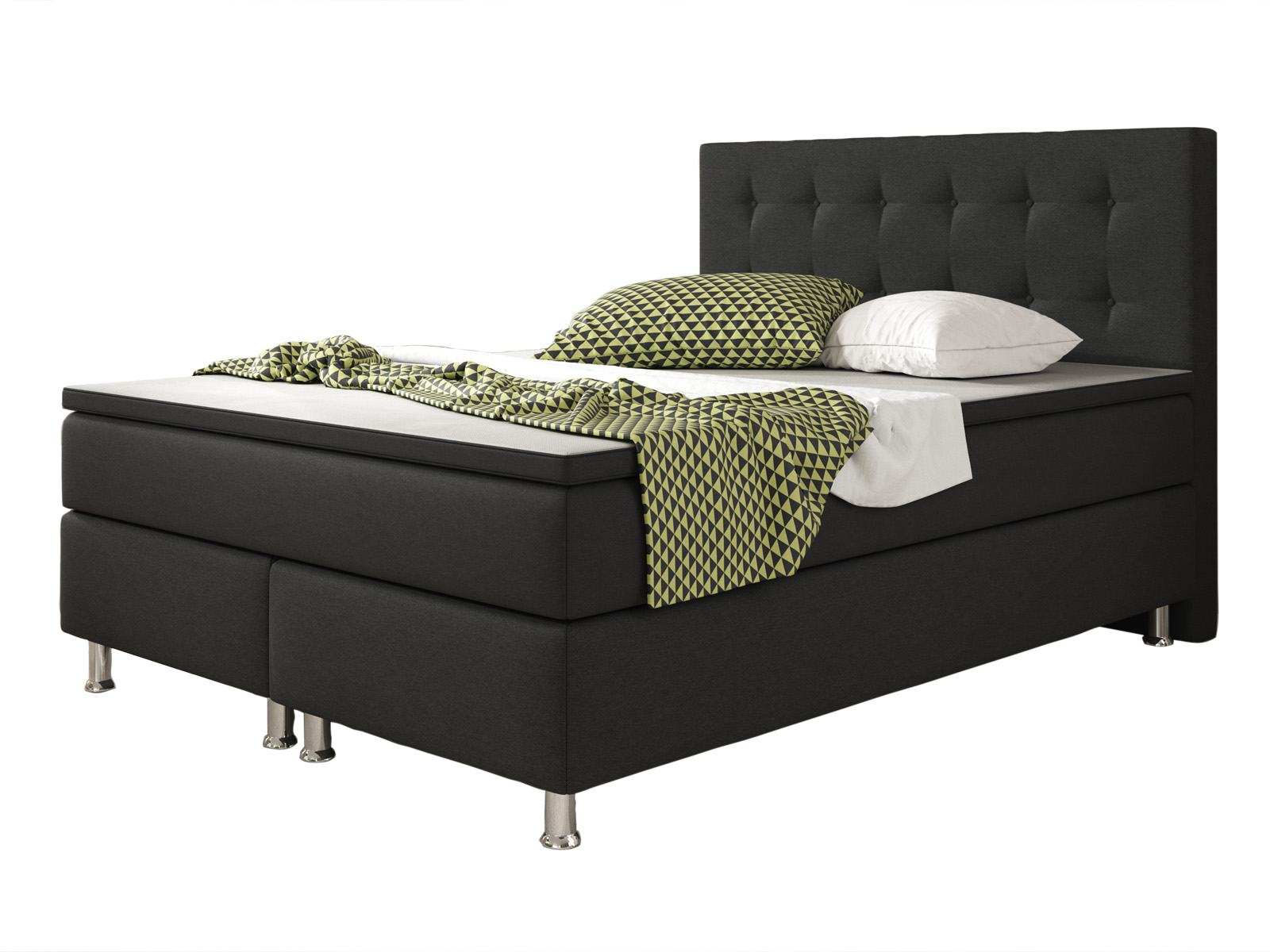 boxspringbett k ln 140x200 cm schwarz webstoff bett. Black Bedroom Furniture Sets. Home Design Ideas