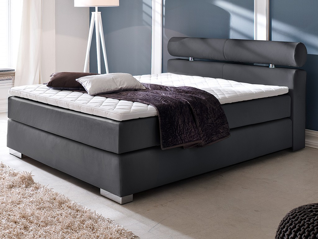 boxspringbett anello 140x200 cm pu schwarz mit visco topper schlafen boxspringbetten. Black Bedroom Furniture Sets. Home Design Ideas