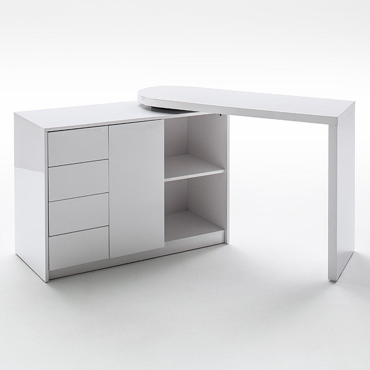 schreibtisch und regal mit drehfunktion hochglanz wei matt b ro schreibtische. Black Bedroom Furniture Sets. Home Design Ideas