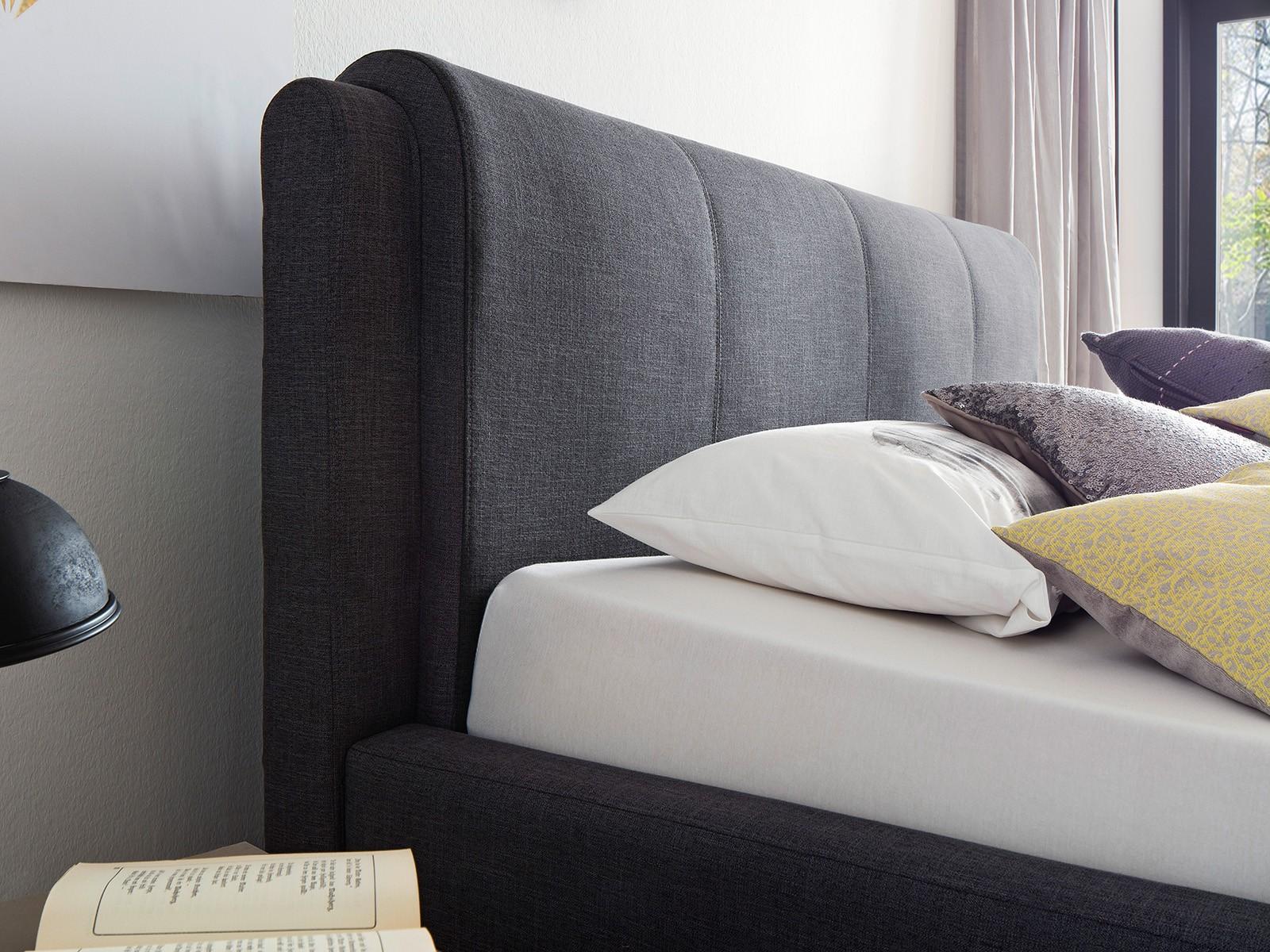 polsterbett el paso mit stoffbezug culture anthrazit 140x200 cm inkl bettkasten und lattenrost. Black Bedroom Furniture Sets. Home Design Ideas