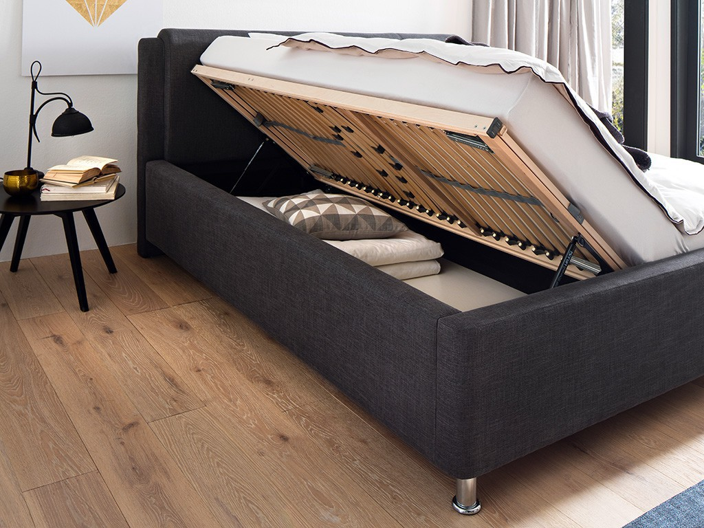 polsterbett el paso mit stoffbezug culture grau 180x200 cm. Black Bedroom Furniture Sets. Home Design Ideas