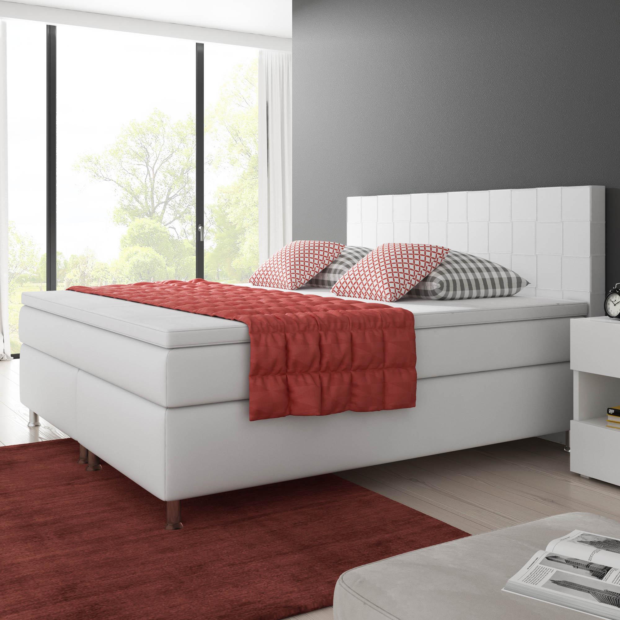 boxspringbett ancona 180x200 cm kunstleder wei schlafen. Black Bedroom Furniture Sets. Home Design Ideas