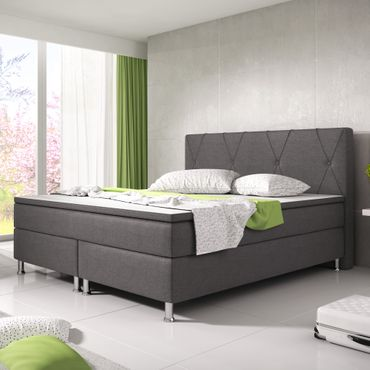Boxspringbett Boston 180x200 Webstoff Anthrazit – Bild 2