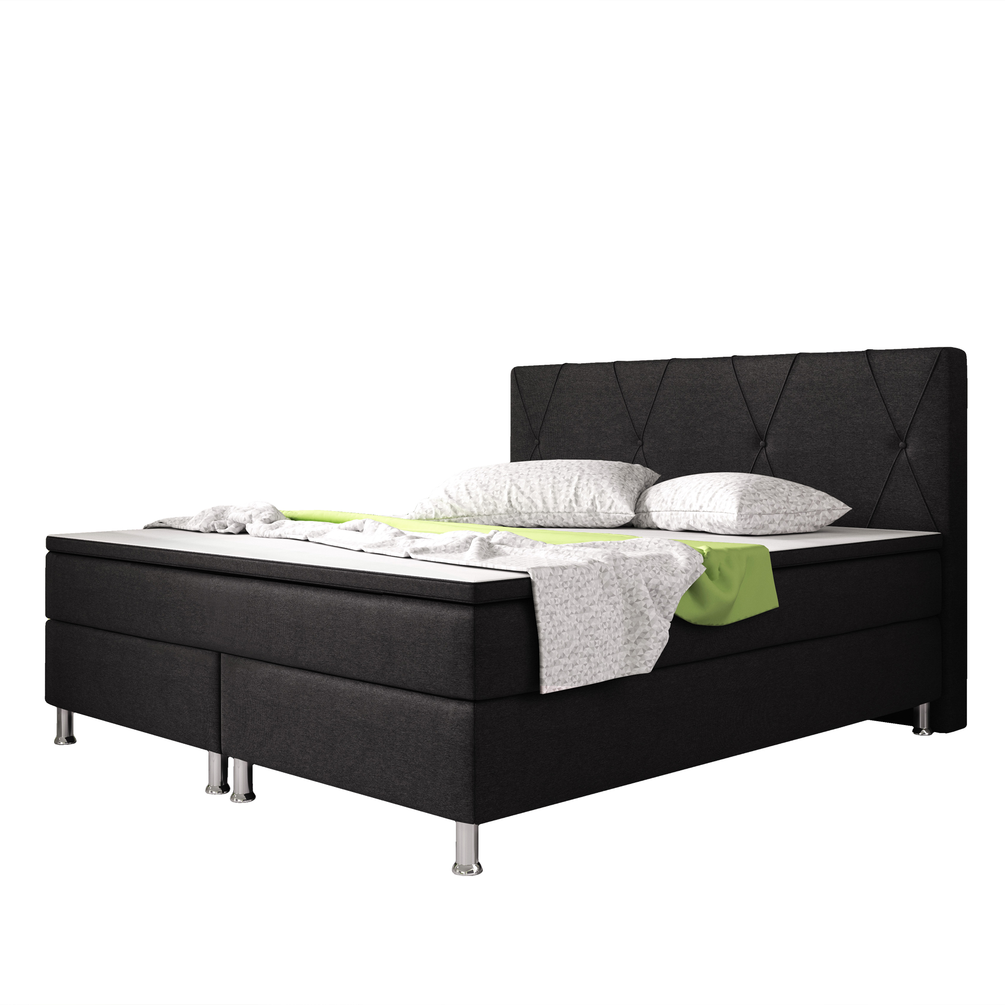 boxspringbett boston 180x200 webstoff schwarz schlafen boxspringbetten. Black Bedroom Furniture Sets. Home Design Ideas
