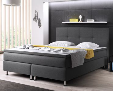 Boxspringbett Dallas 180x200 Webstoff Anthrazit – Bild 2
