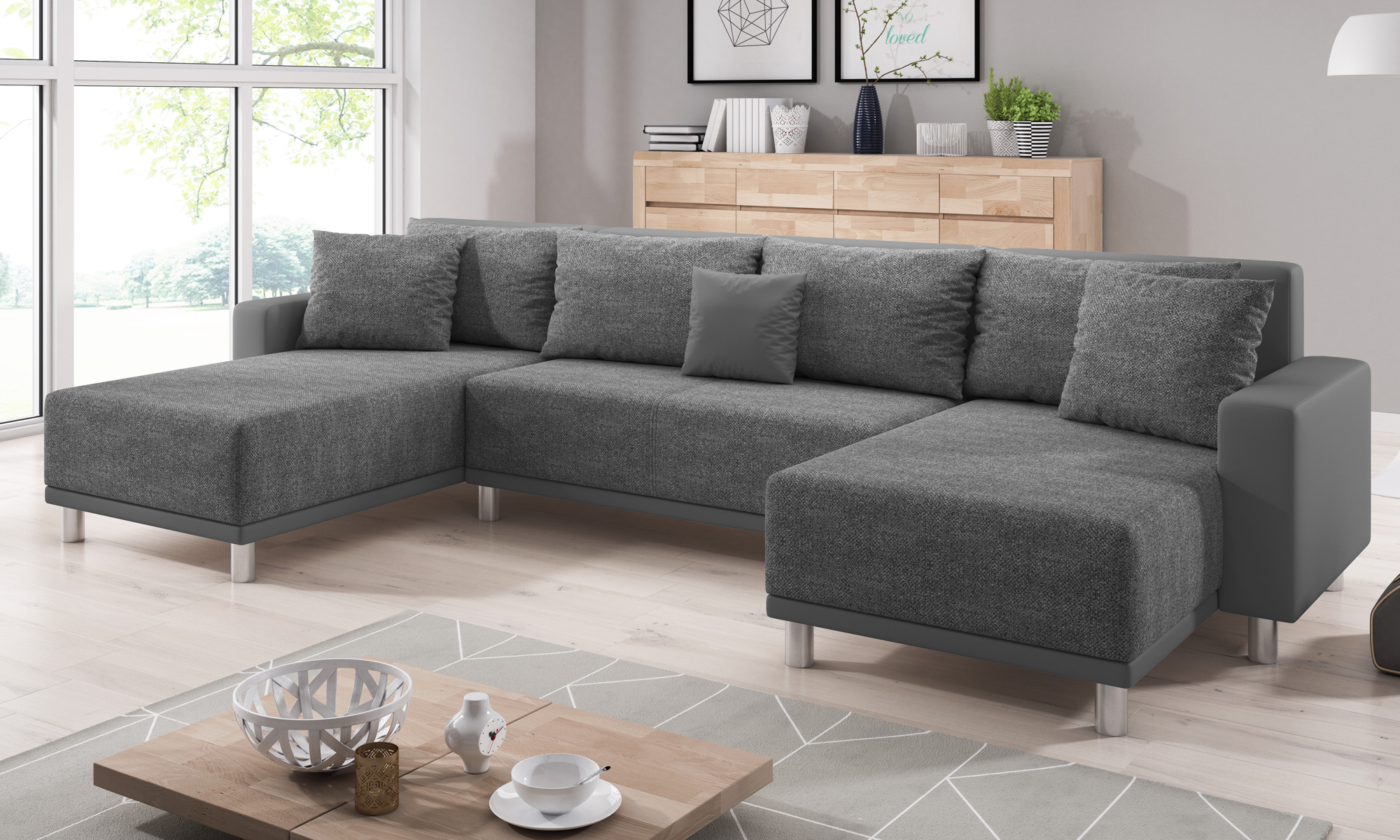 sofa road grau u form schlafsofa ecksofa wohnen polsterm bel ecksofa. Black Bedroom Furniture Sets. Home Design Ideas