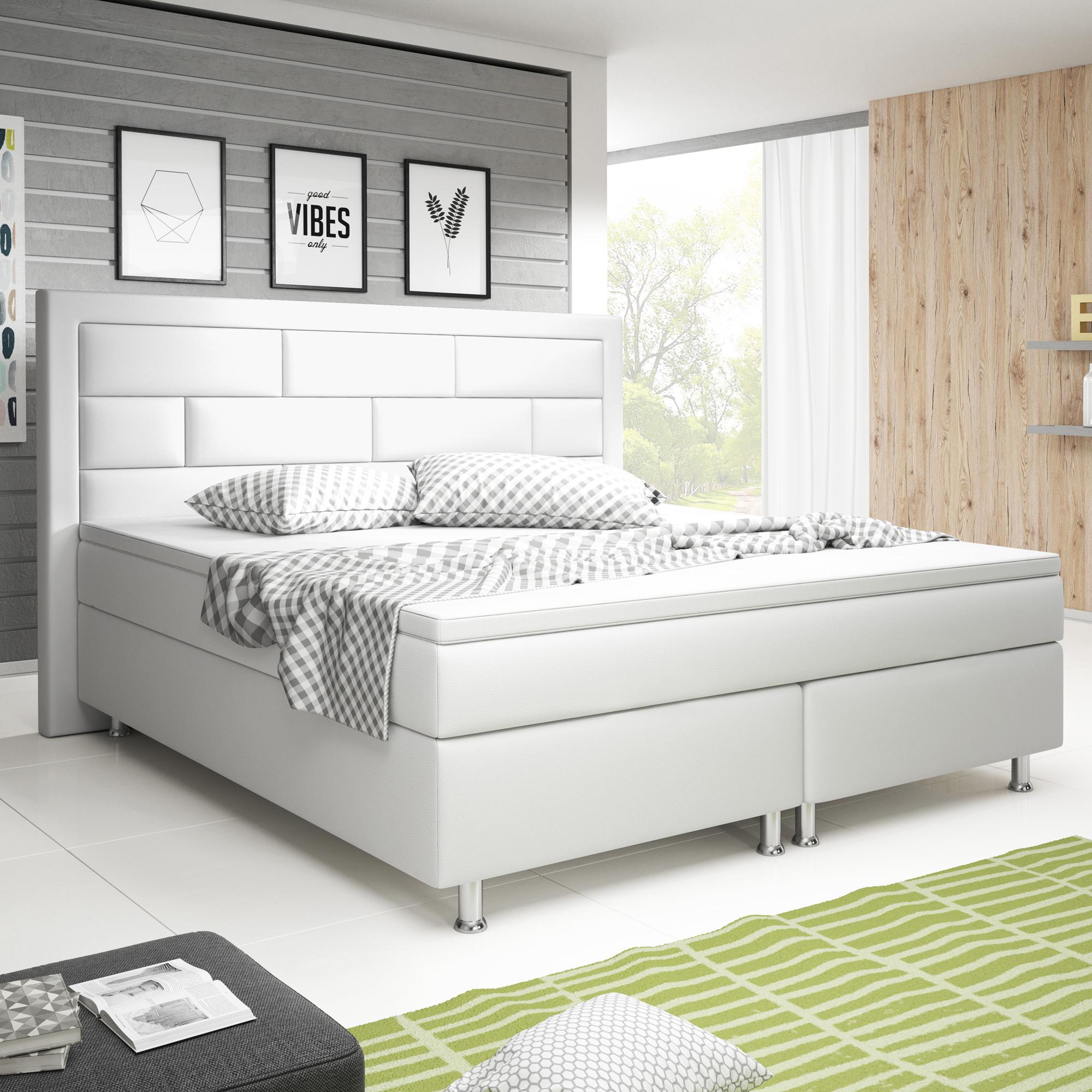 boxspringbett nizza 180x200 cm kunstleder wei schlafen. Black Bedroom Furniture Sets. Home Design Ideas