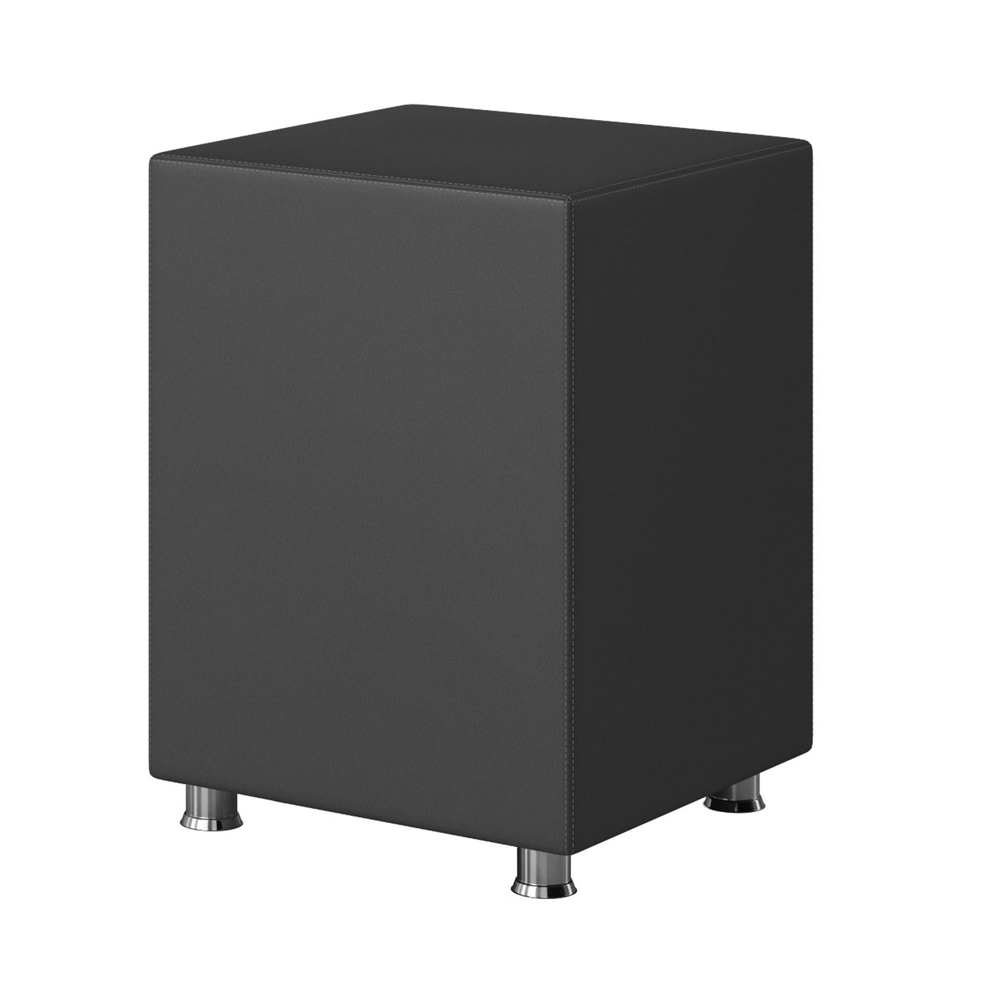 Nachttisch Hocker Kara Würfel Cube Anthrazit 40x40x60 Kunstleder