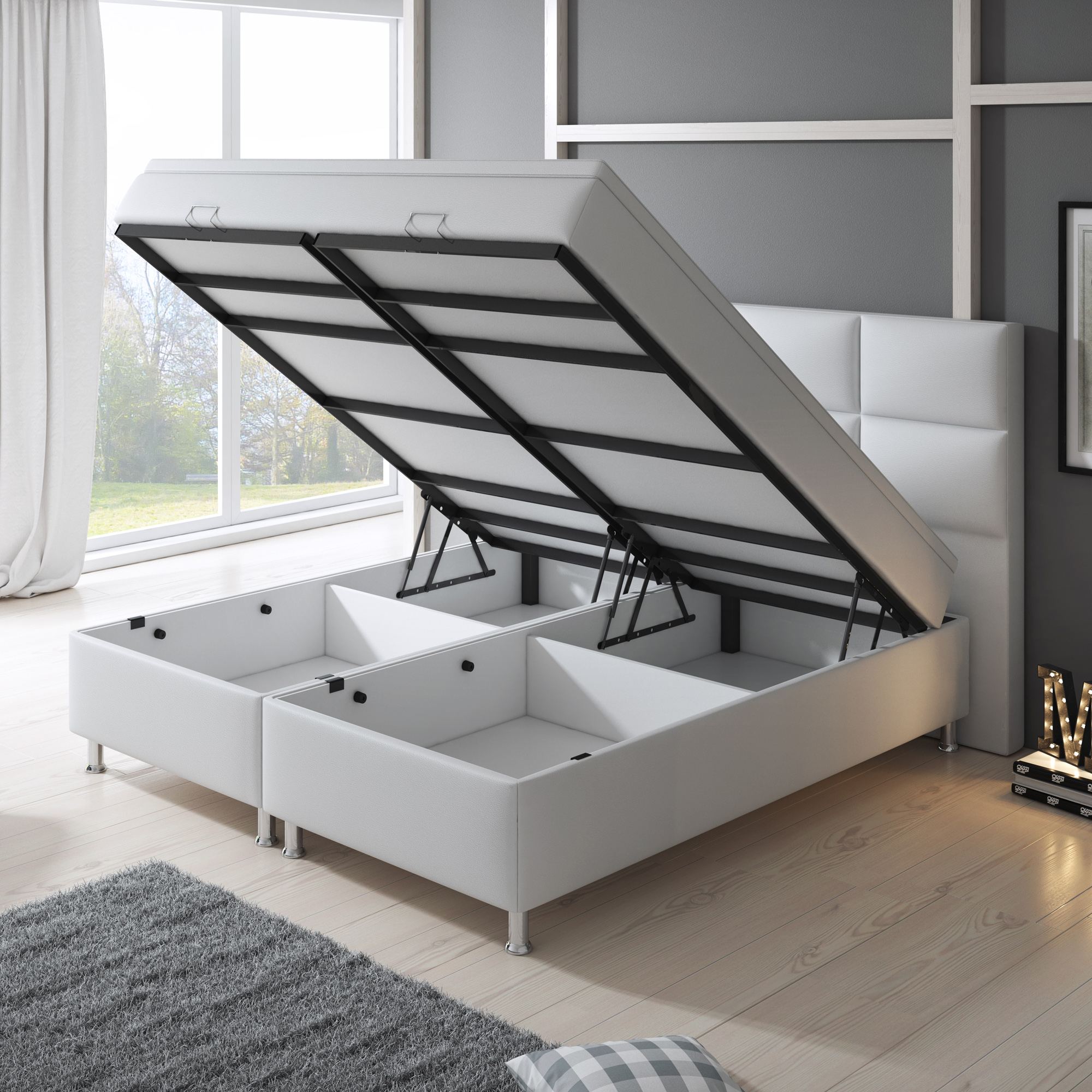boxspringbett miami mit bettkasten 180x200 cm kunstleder. Black Bedroom Furniture Sets. Home Design Ideas