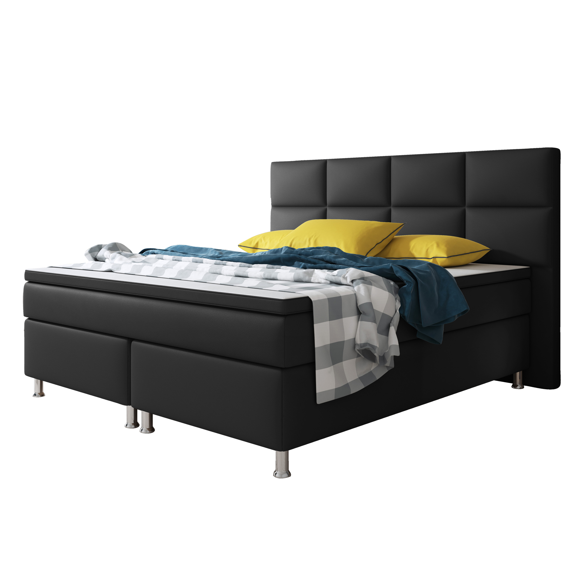boxspringbett miami mit bettkasten 180x200 cm kunstleder schwarz schlafen boxspringbetten. Black Bedroom Furniture Sets. Home Design Ideas