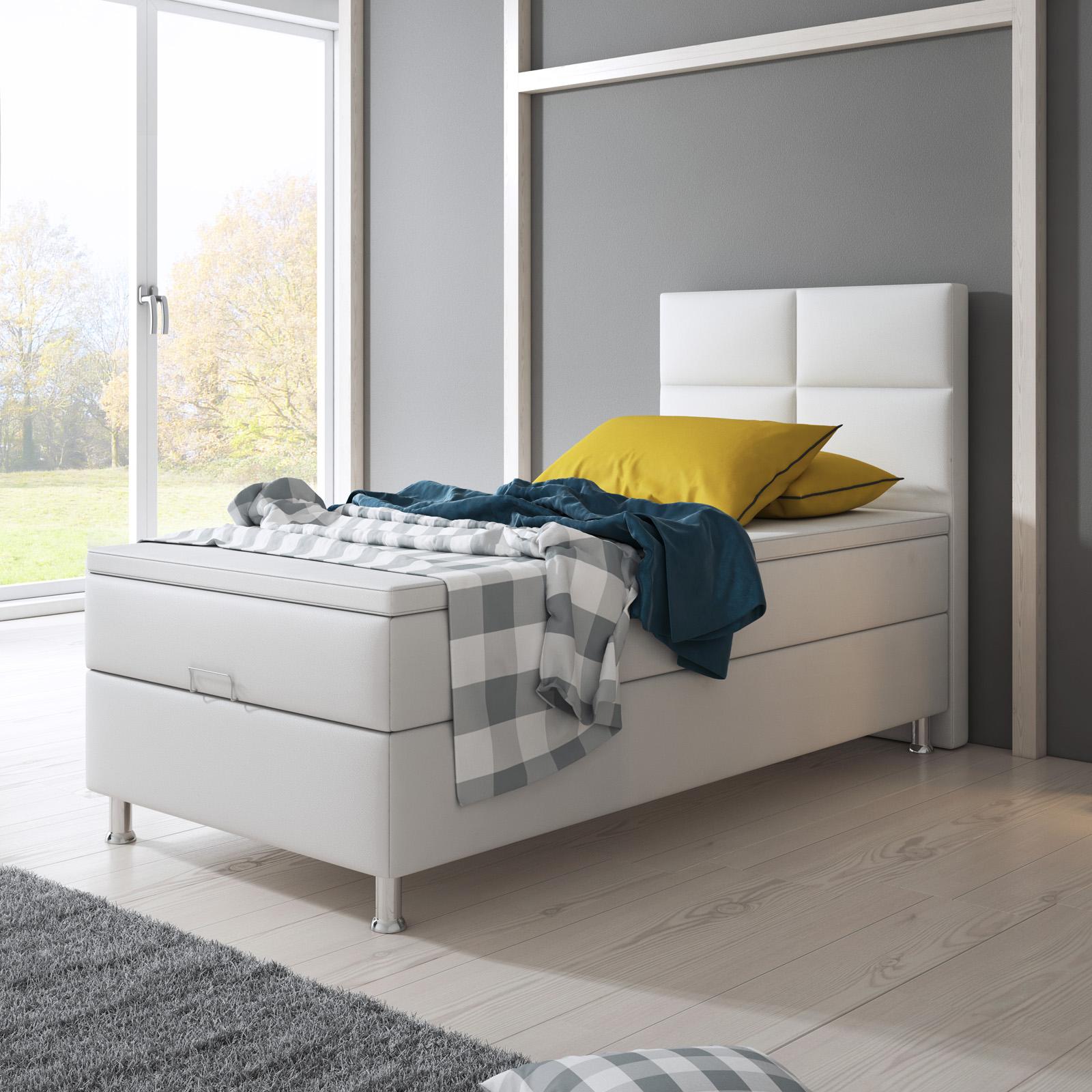 boxspringbett miami mit bettkasten 90x200 cm kunstleder weiss schlafen boxspringbetten. Black Bedroom Furniture Sets. Home Design Ideas