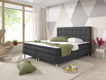 Boxspringbett Blacky 180x200 Webstoff Anthrazit – Bild 3