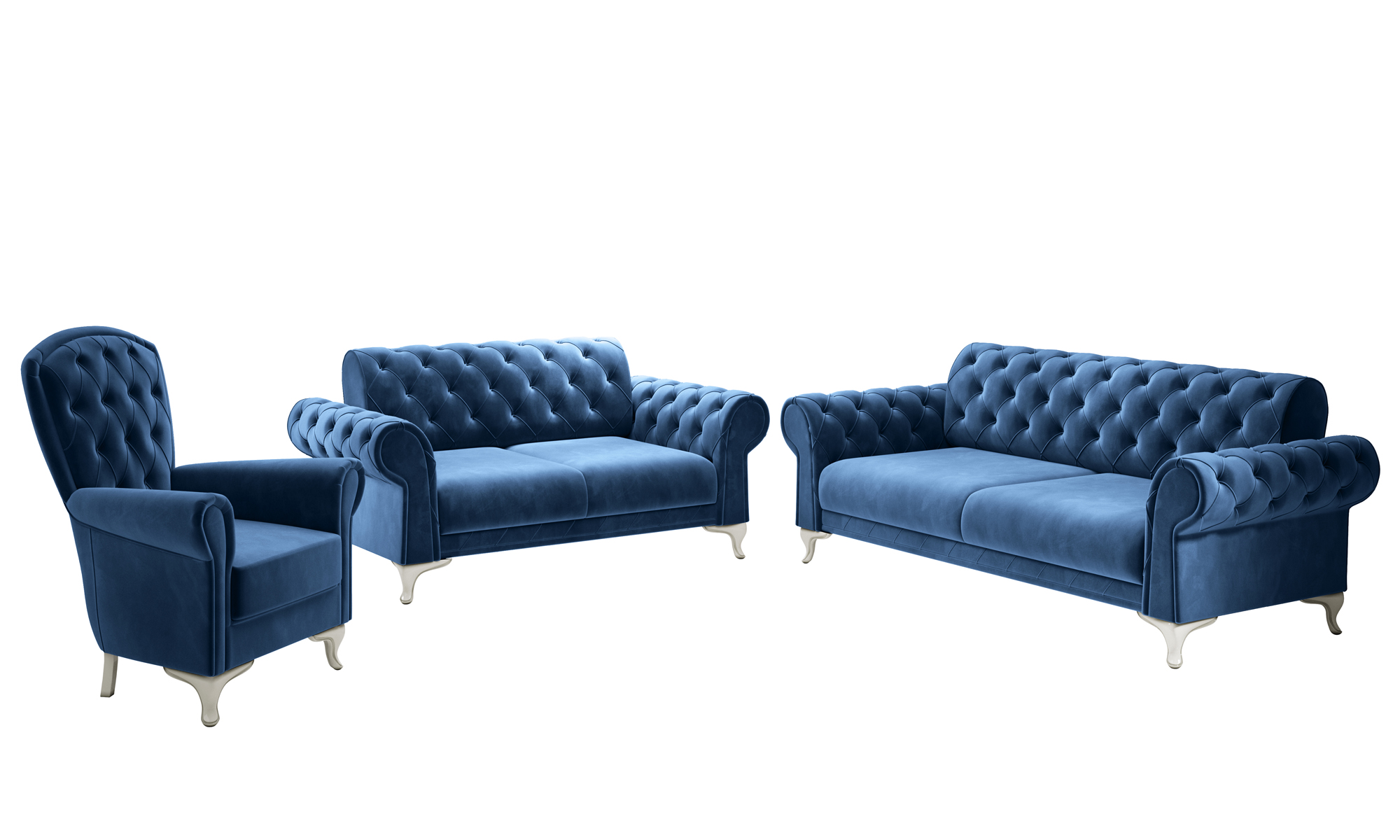 3-2-1 Sofa Set Rossa mit Bettfunktion und integrierter Visco-Auflage Aqua Blau