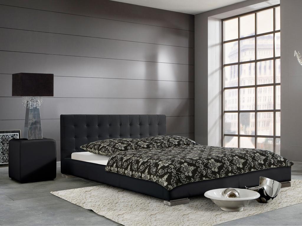 Polsterbett sandra schwarz 100x200 cm kunstlederbezug for Wohnlandschaft sandra