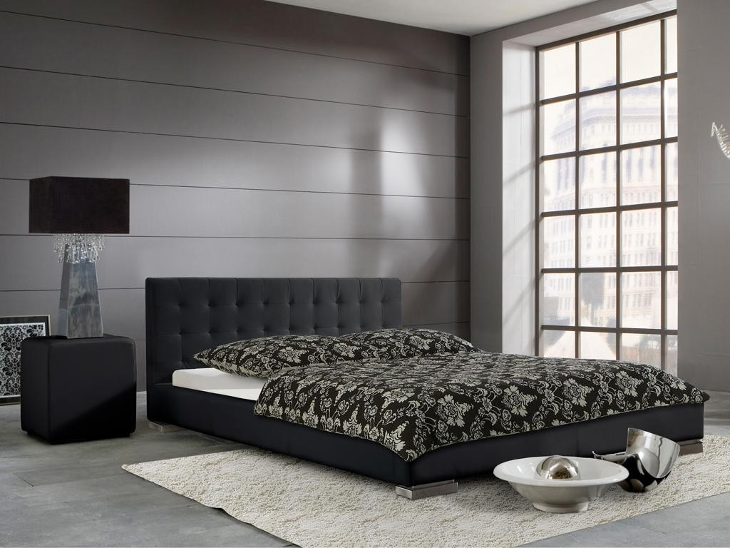 polsterbett sandra schwarz 100x200 cm kunstlederbezug schlafen polsterbetten. Black Bedroom Furniture Sets. Home Design Ideas