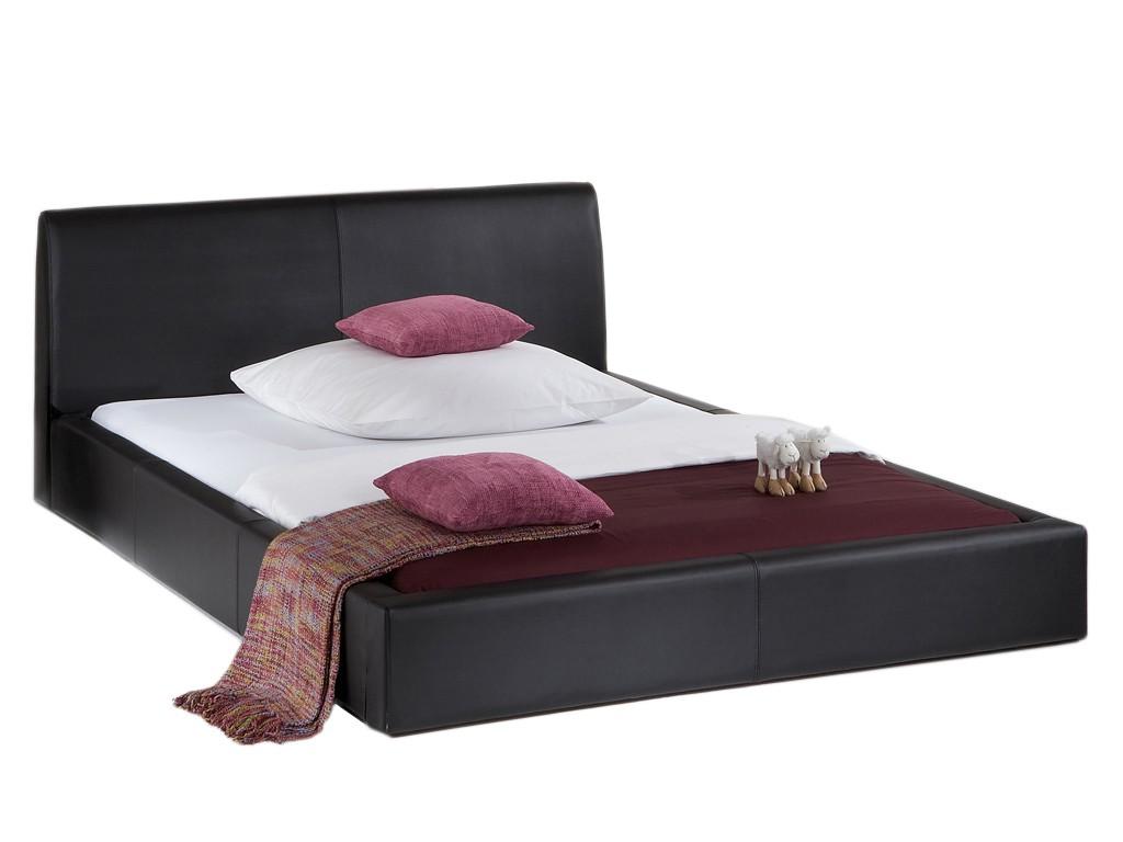 polsterbett excalibur echtleder schwarz 180x200 cm. Black Bedroom Furniture Sets. Home Design Ideas