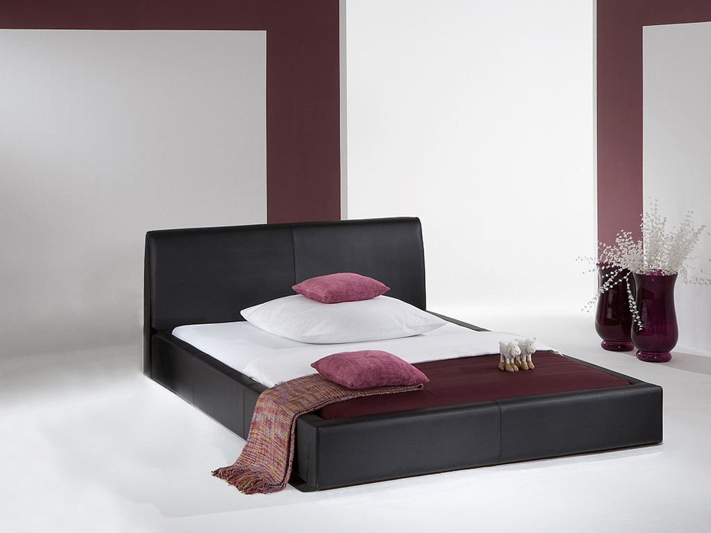 polsterbett excalibur echtleder schwarz 180x200 cm schlafen polsterbetten. Black Bedroom Furniture Sets. Home Design Ideas