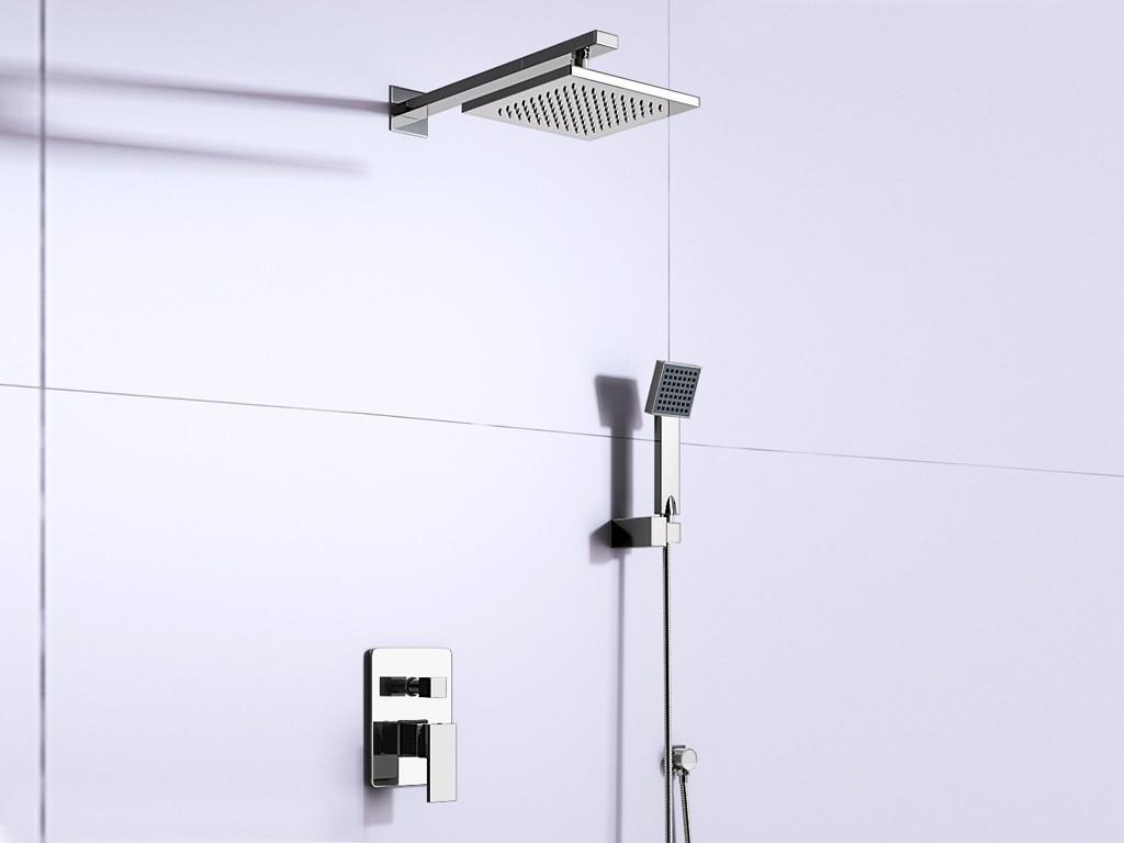 komplett duschset mit regendusche handbrause armatur brauseschlauch verchromt bad badzubeh r. Black Bedroom Furniture Sets. Home Design Ideas