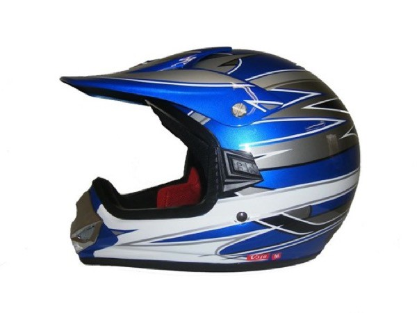 Kinder Crosshelm Racing V310 blau