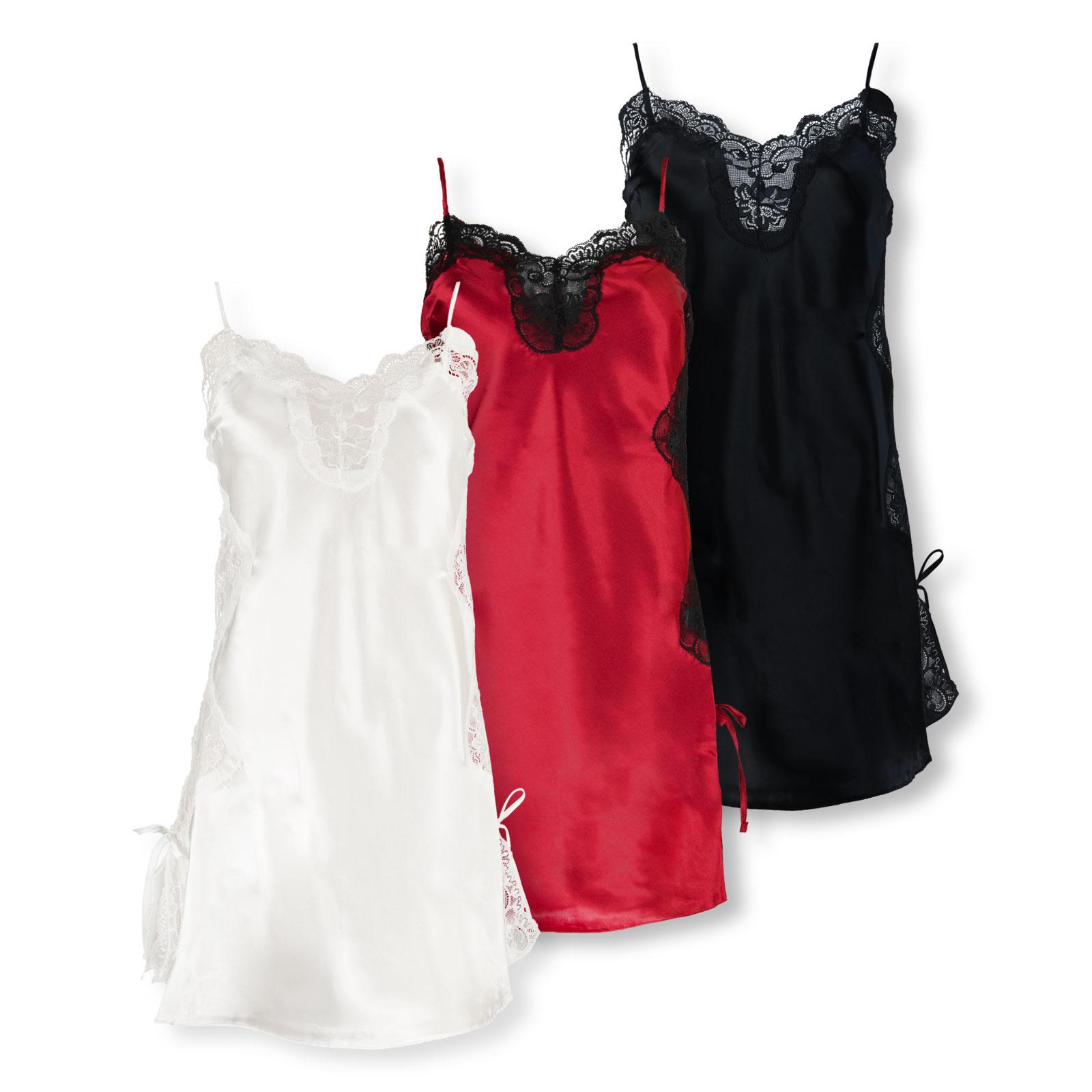 After Eden Damen Negligée Nachthemd Nightdress Feline Slipdress Satin S M L XL 10.70.9600 in dark red