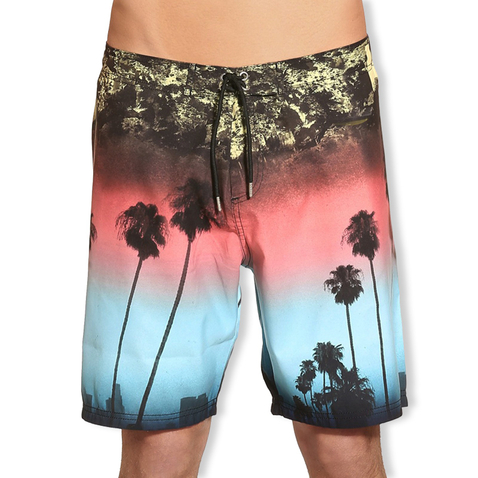 GUESS Herren Badehose Badeshort Boardshorts Back to LA F52T93 M L XL in Hollywoodprint