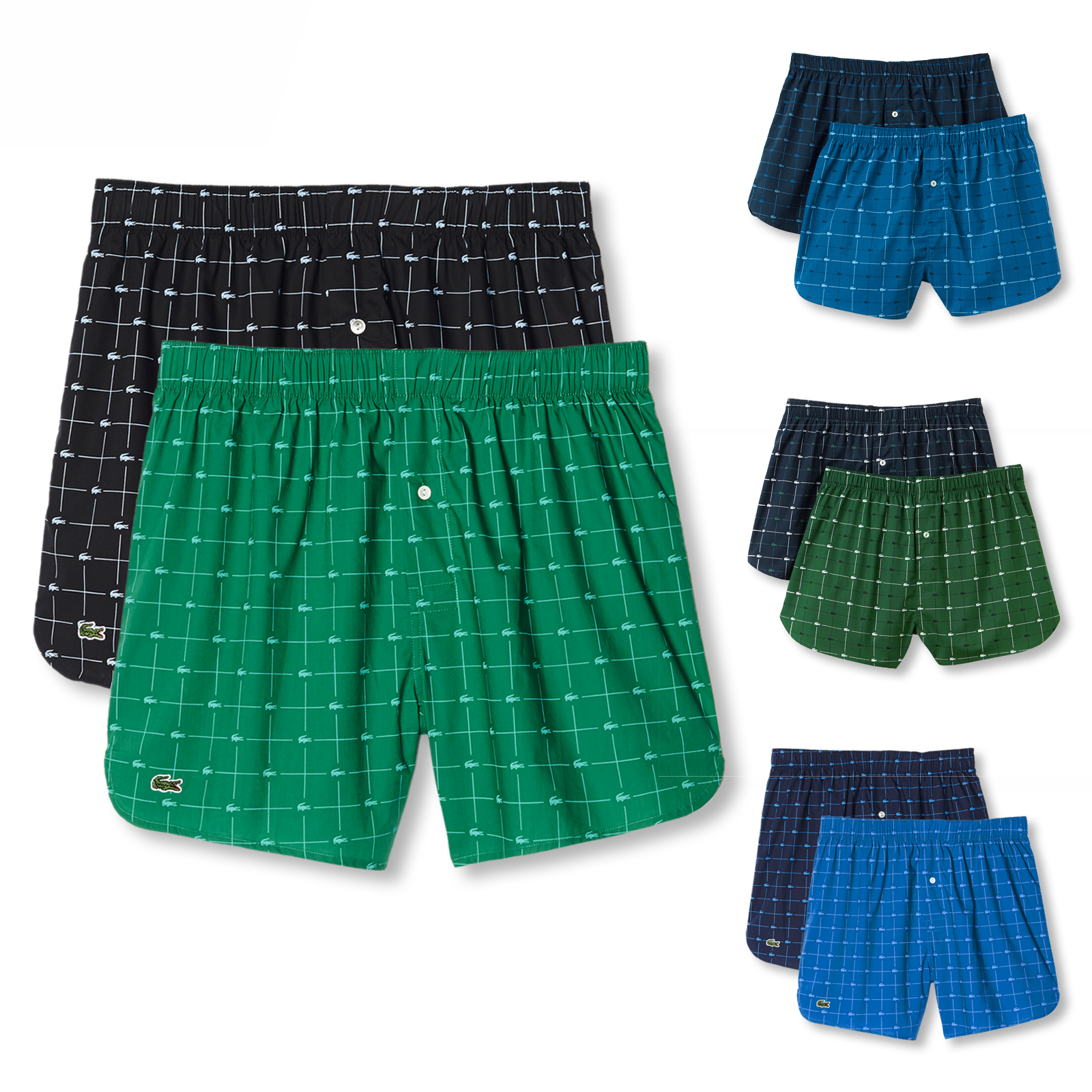 2er Pack Lacoste Herren Webboxer Authentics M L XL XXL in navy / green