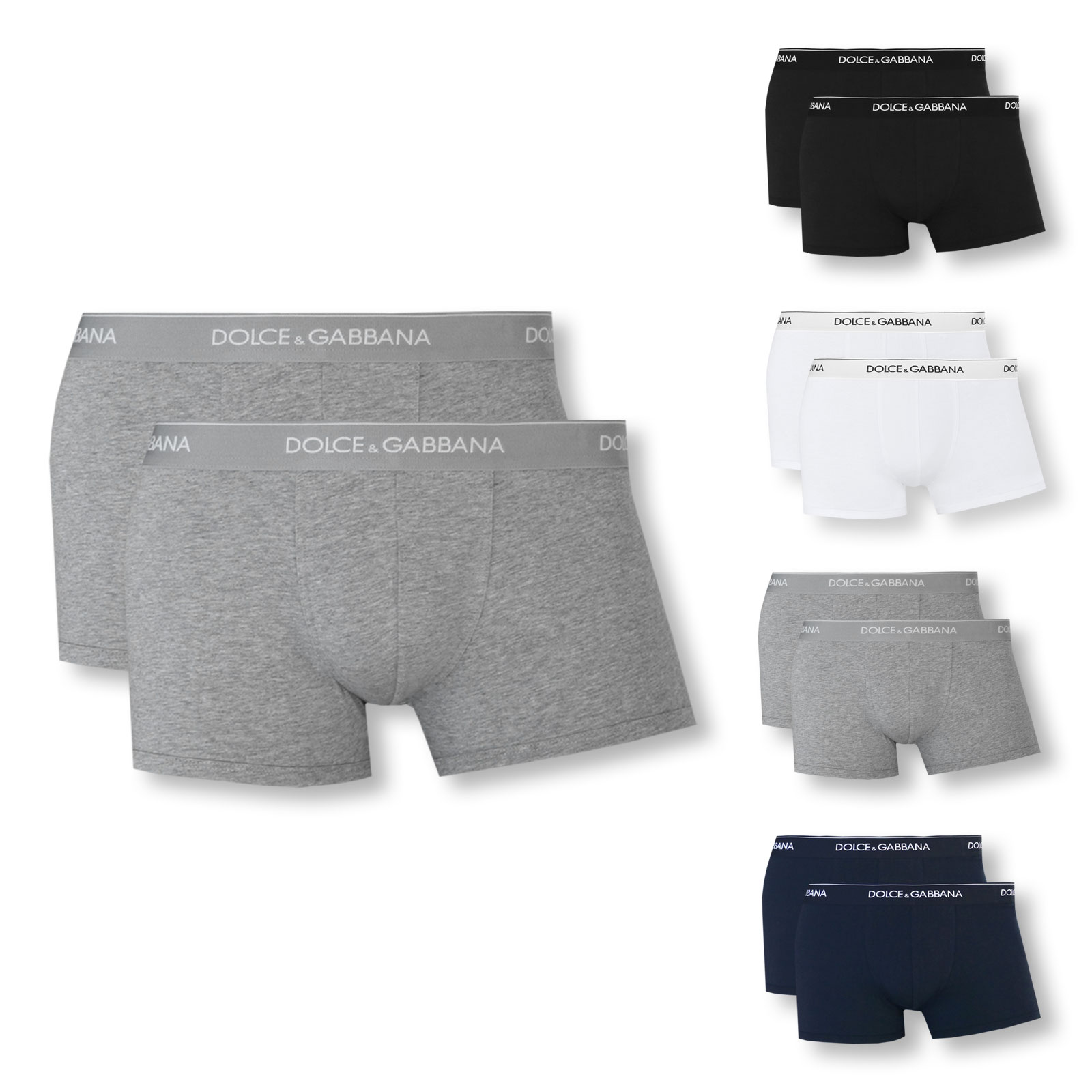 2er Pack Dolce & Gabbana Boxershorts Regular Boxer S M L XL XXL N9A07J in grey melange