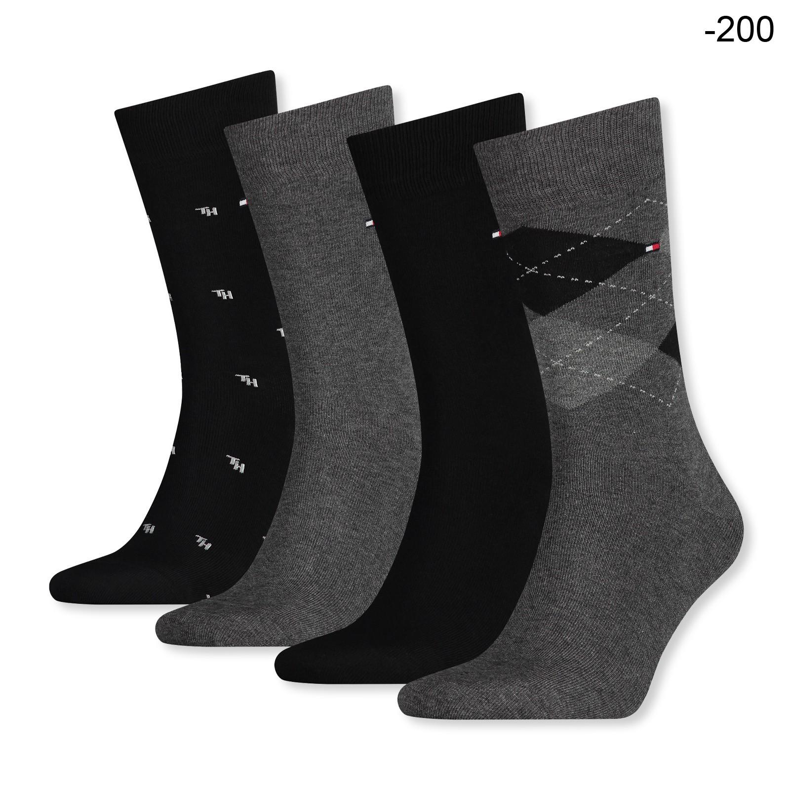 4 Paar Tommy Hilfiger Business Socken Geschenkbox 39/42 43/46 in schwarz