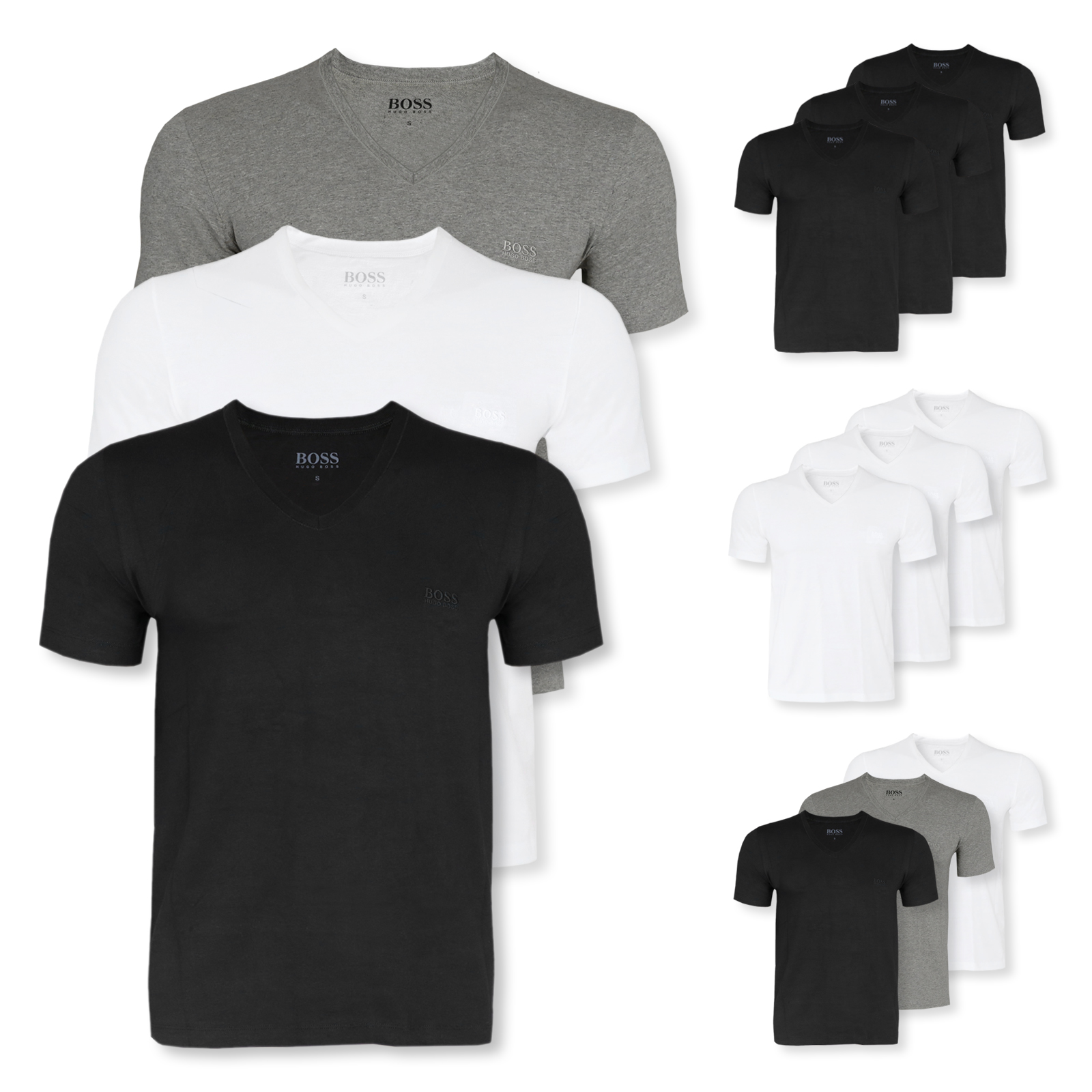 3er oder 6er Pack HUGO BOSS T-Shirts kurzarm V-Neck in mix