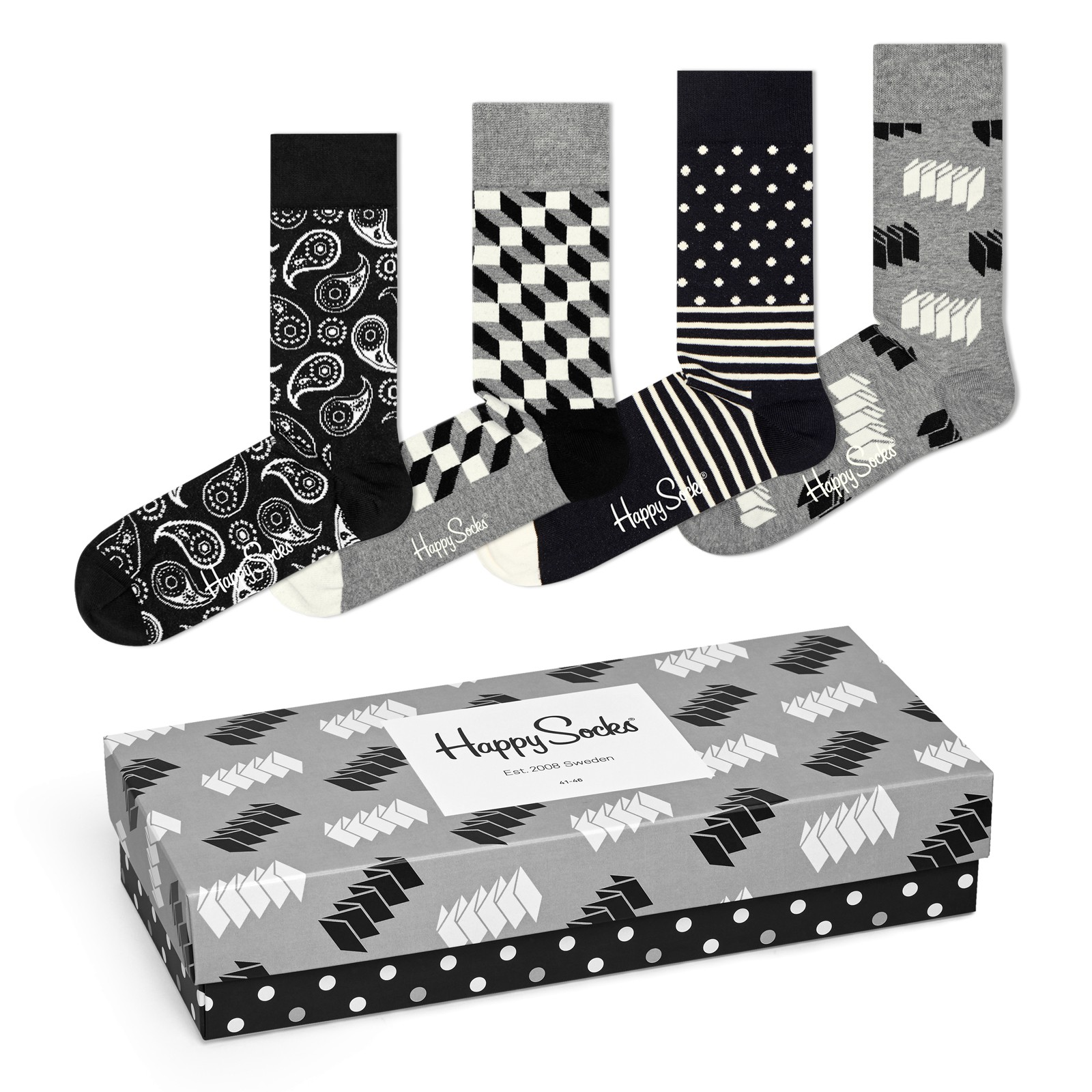 4 Paar Happy Socks Socken Strümpfe Geschenkbox Gift Pack in Optic