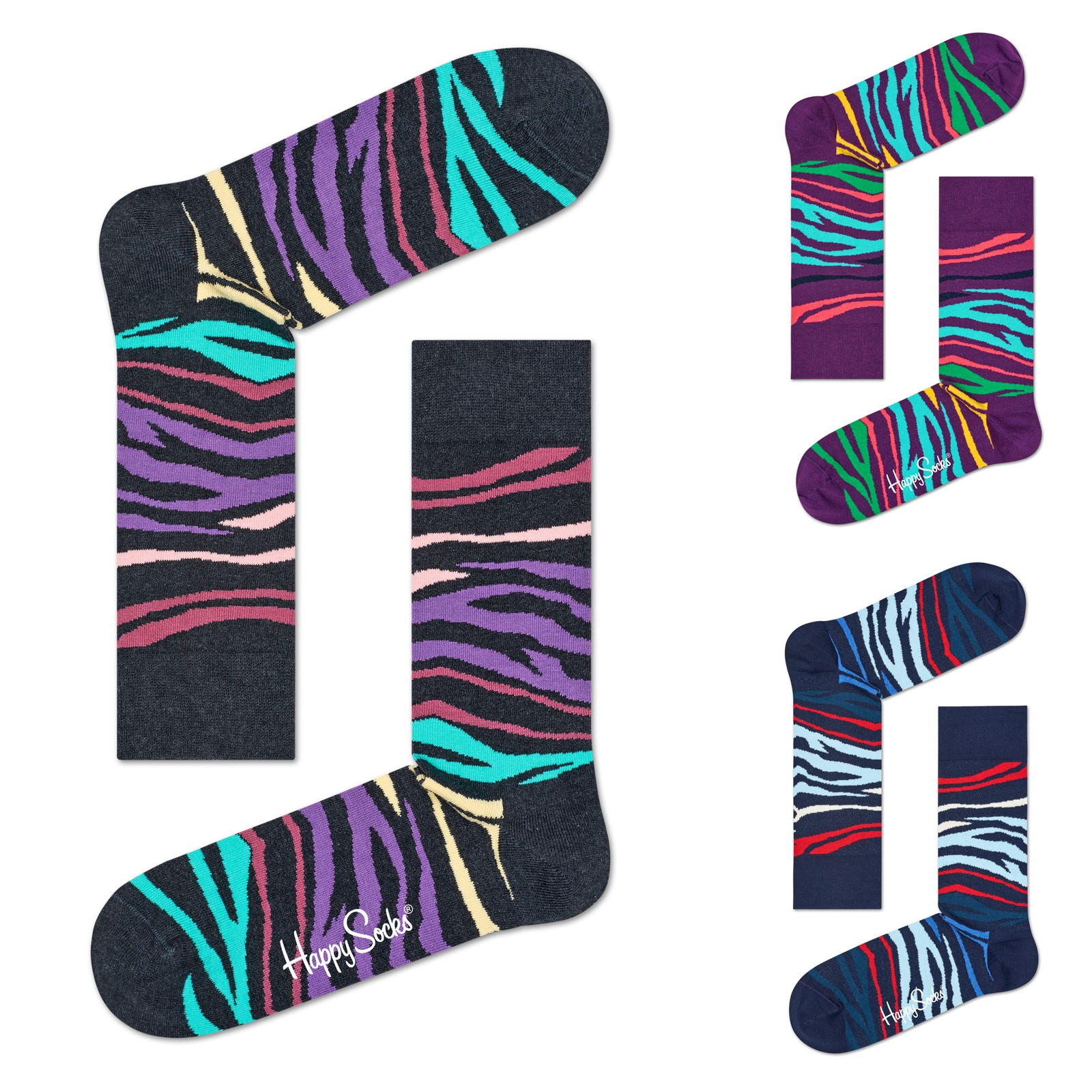 Happy Socks Unisex Socken Multi Zebra MZE01 36/40 41/46 in navy vergrößern
