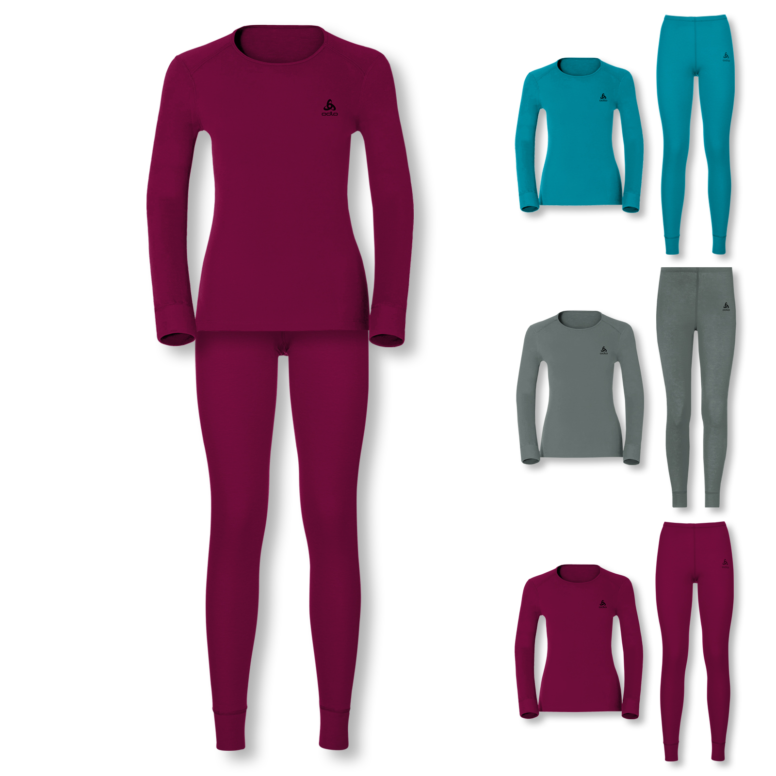 Odlo Skiunterwäsche Set Thermounterwäsche WARM S M L XL in sangria