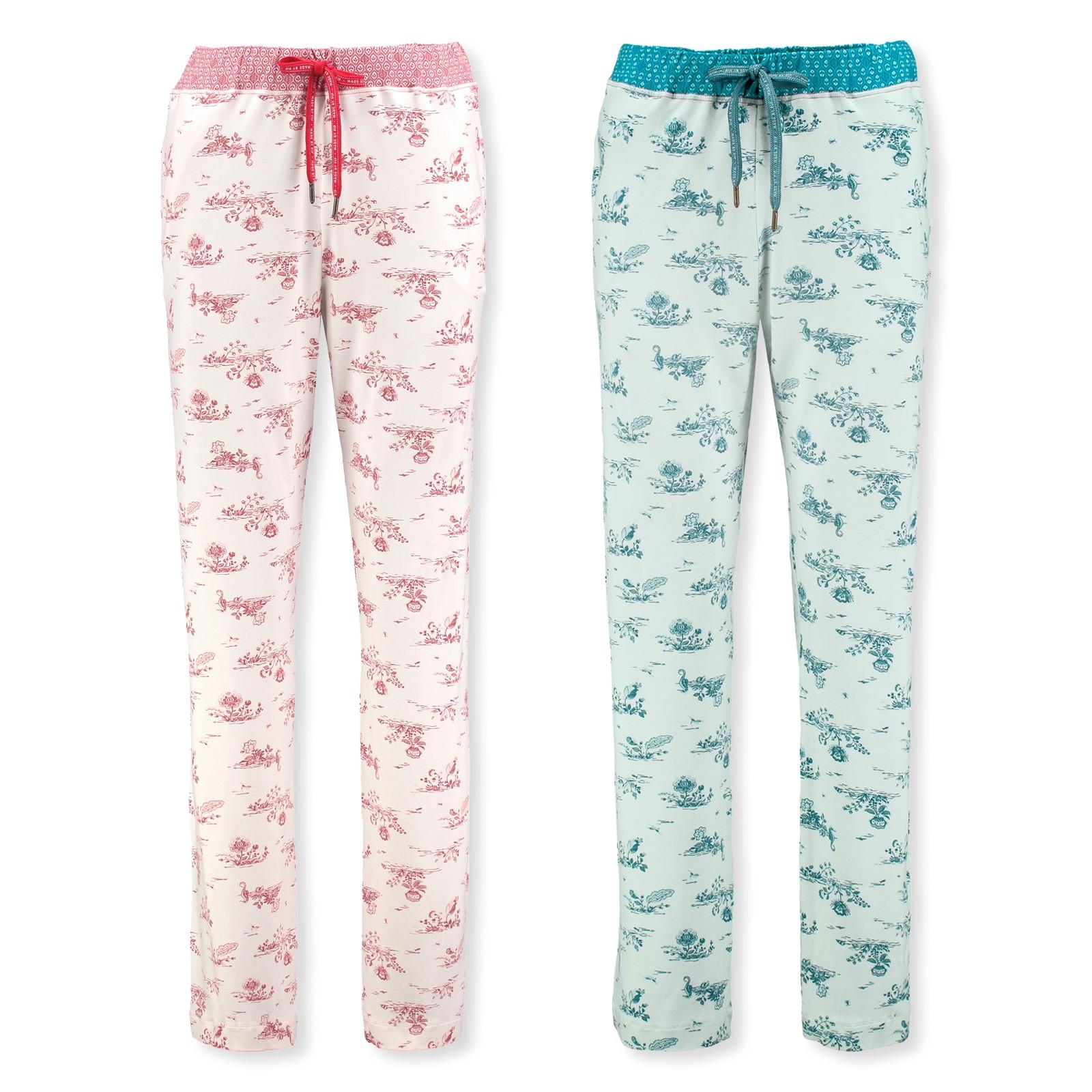 PiP Studio Damen Pyjamahose lang Pants Babbet Flow De Fleur 260557 S M L XL in pink