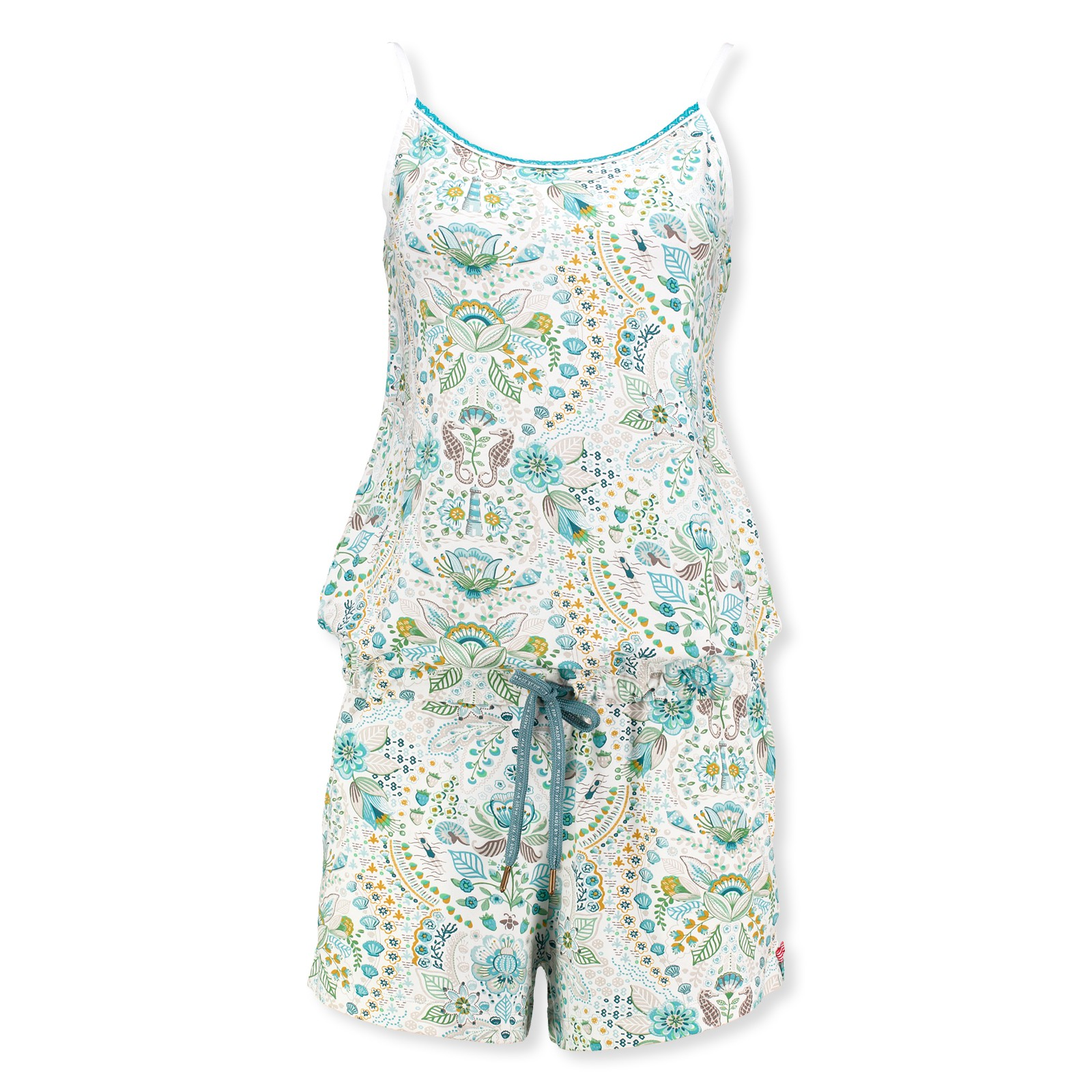 PiP Studio Damen Playsuit Spaghettiträger Short Jumpsuit Overall Sea Stitch S M L 260546 in blue