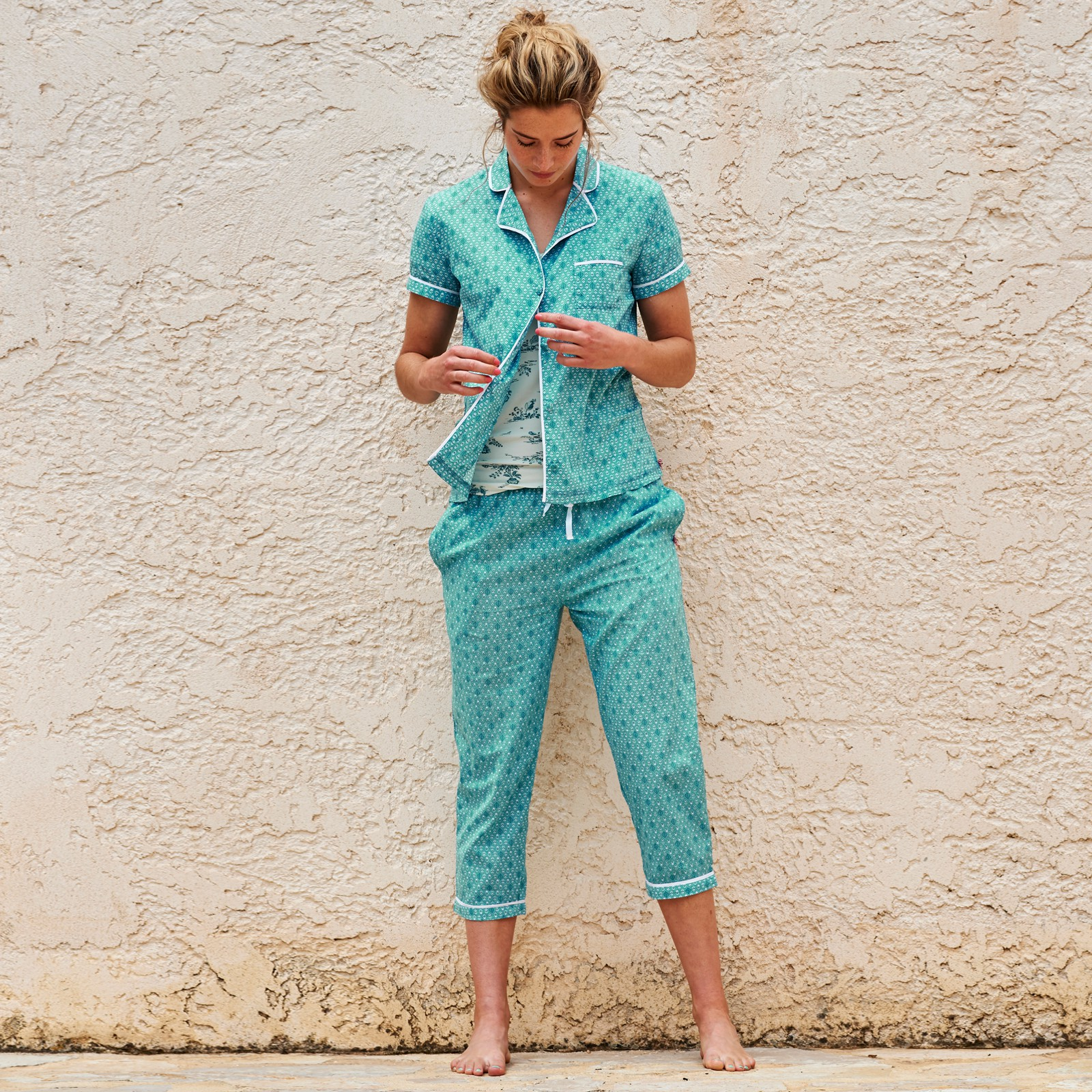 PiP Studio Damen Pyjamahose 3/4 Pants Baukje Leaves S M L XL 260541 in aqua