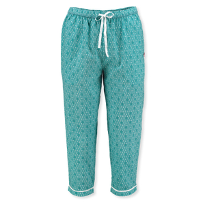 Detailbild PiP Studio Damen Pyjamahose 3/4 Pants Baukje Leaves S M L XL 260541 in aqua