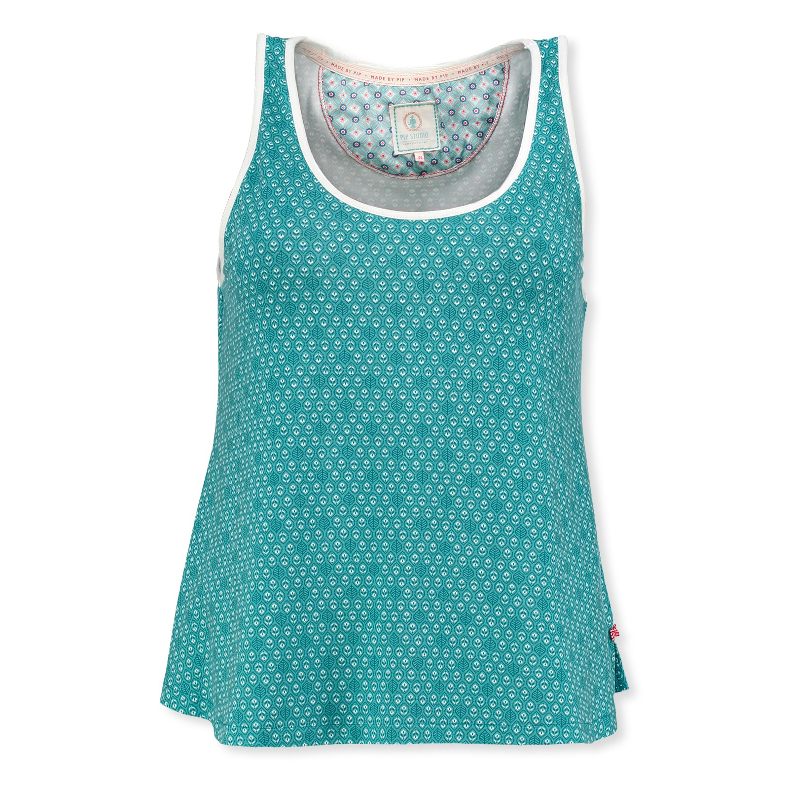 PiP Studio Damen Top sleeveless Pyjama Oberteil Tanktop Teun Leaves S M L XL 260544 in aqua