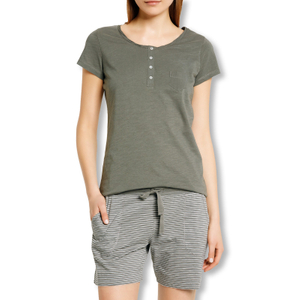 Detailbild Marc O'Polo Damen Pyjamahose Shorty Schlafanzughose kurz 152767 S M L XL in olivgreen