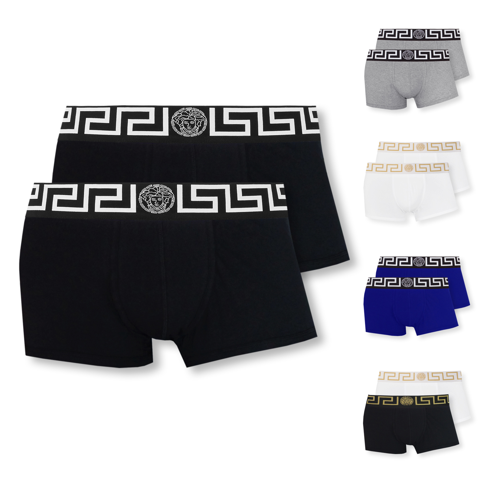 2er Pack Versace Boxershorts Low Rise Trunk Greca M L XL XXL in bianco