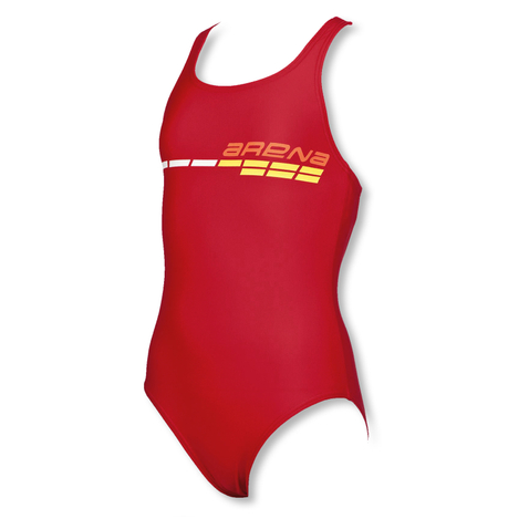 Arena Mädchen Badeanzug Suomi JR One Piece 2A431 128 140 152 164 in red / lily yellow