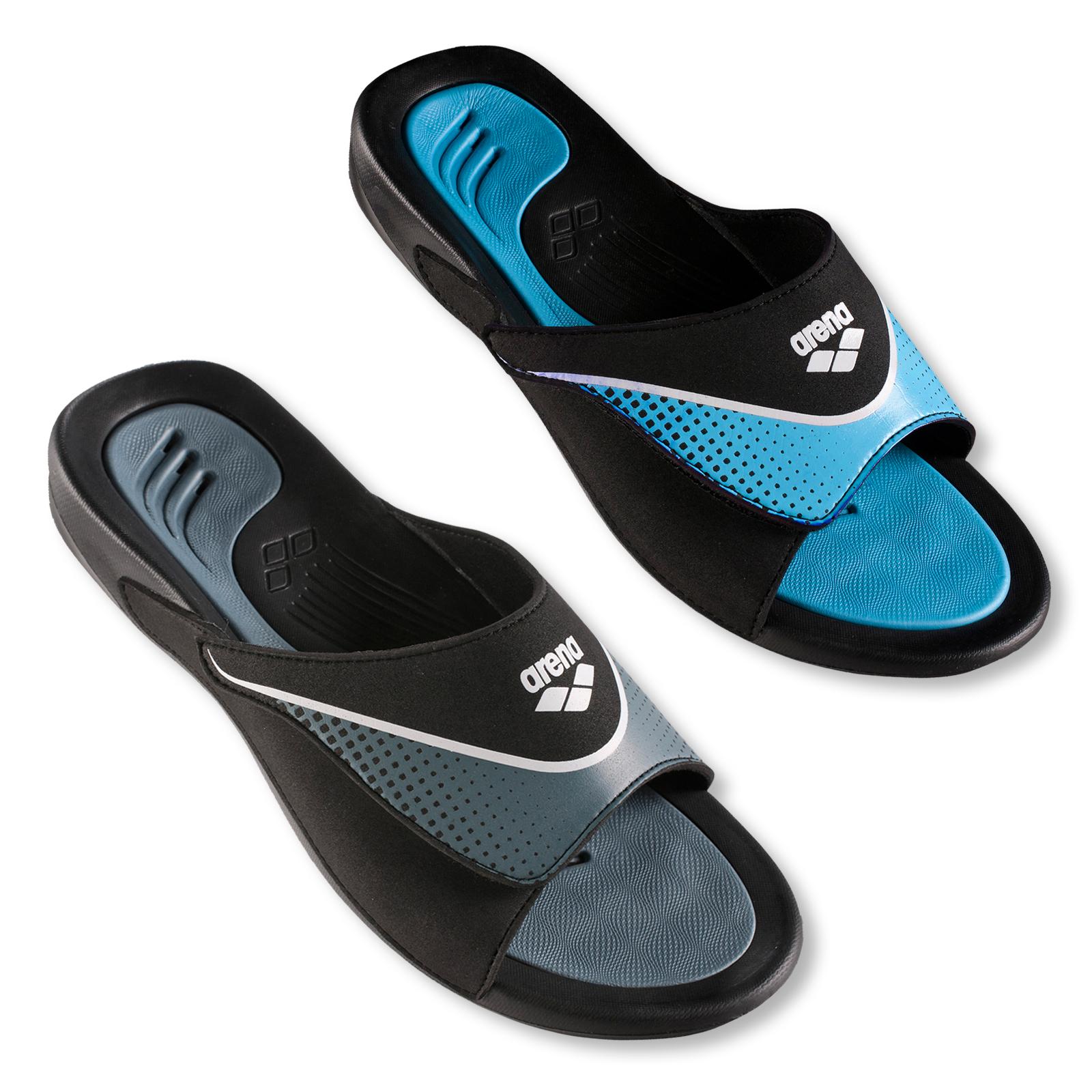 Arena Herren Poolsandale Hydrofit Velcro 40 41 42 43 44 45 46 47 48 in black / grey / white