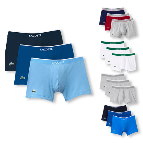 Lacoste 3er Pack Trunks Boxers Colours 156046 S M L XL XXL in blue / grey / cherry