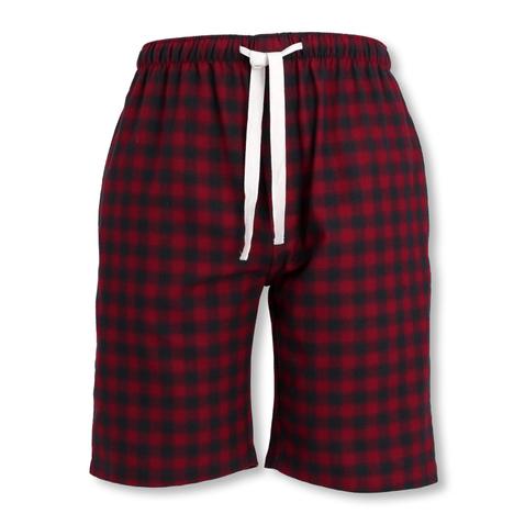 Tom Tailor Herren Flanell-Pyjamahose Bermuda Homewear Schlafanzug Hose in red checked
