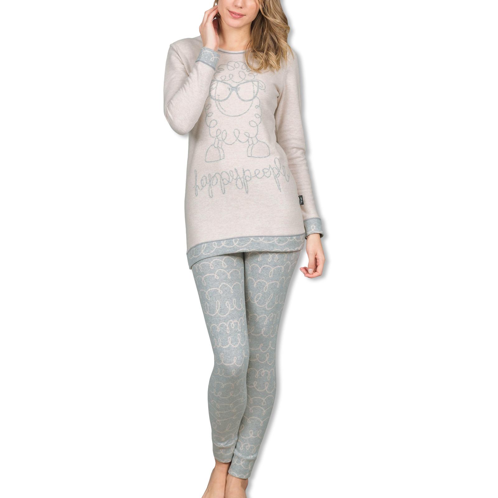 Happy People Damen Pyjama Set M L XL 3901 in altrosa / grau