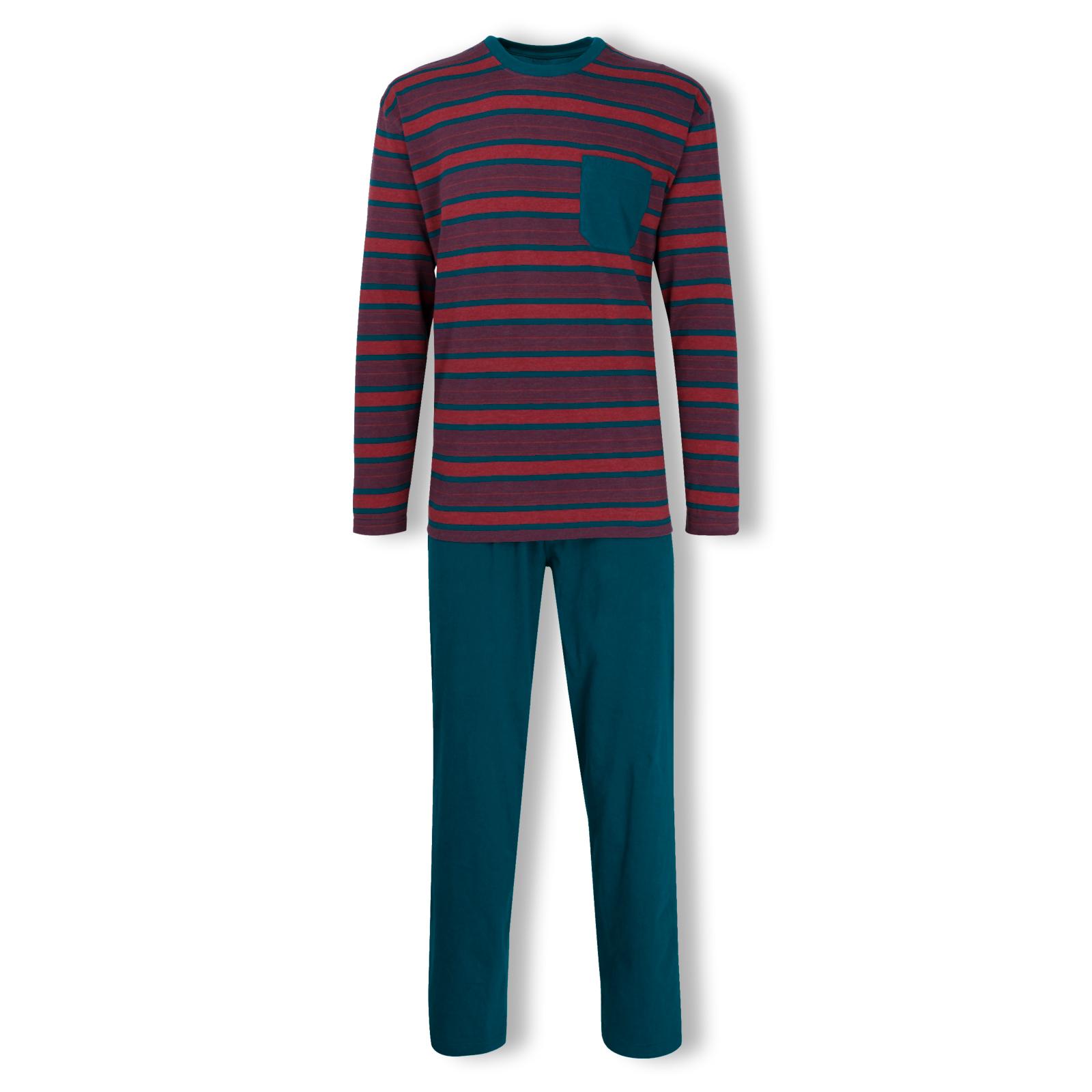 Götzburg Herren Pyjama Schlafanzug langarm Klima Aktiv S M L XL 2XL 3XL 451733 in blue / red