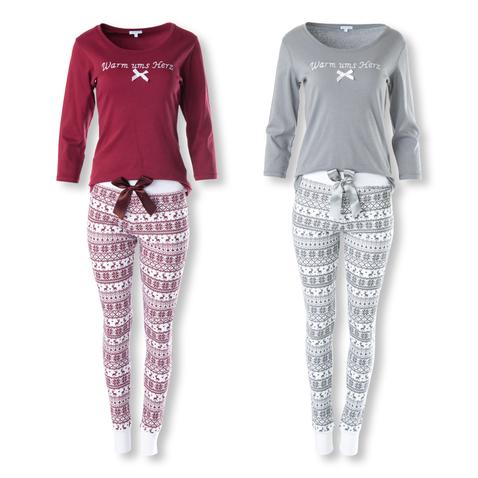 Louis & Louisa Pyjama Warm ums Herz Schlafanzug langarm S M L XL in grau